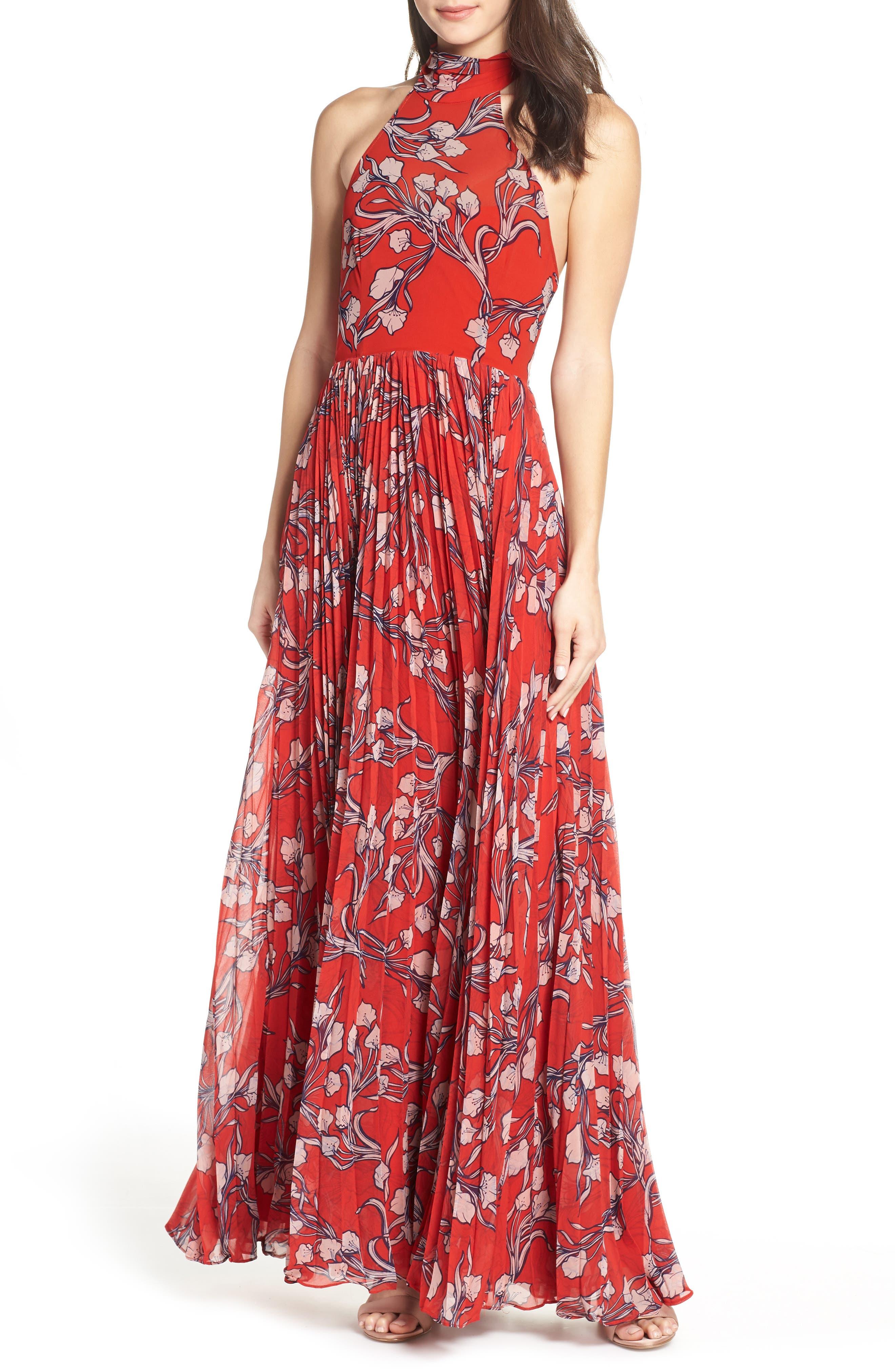 The Zora Chiffon Evening Dress, Main, color, NOUVEAU FLORAL SUNSET