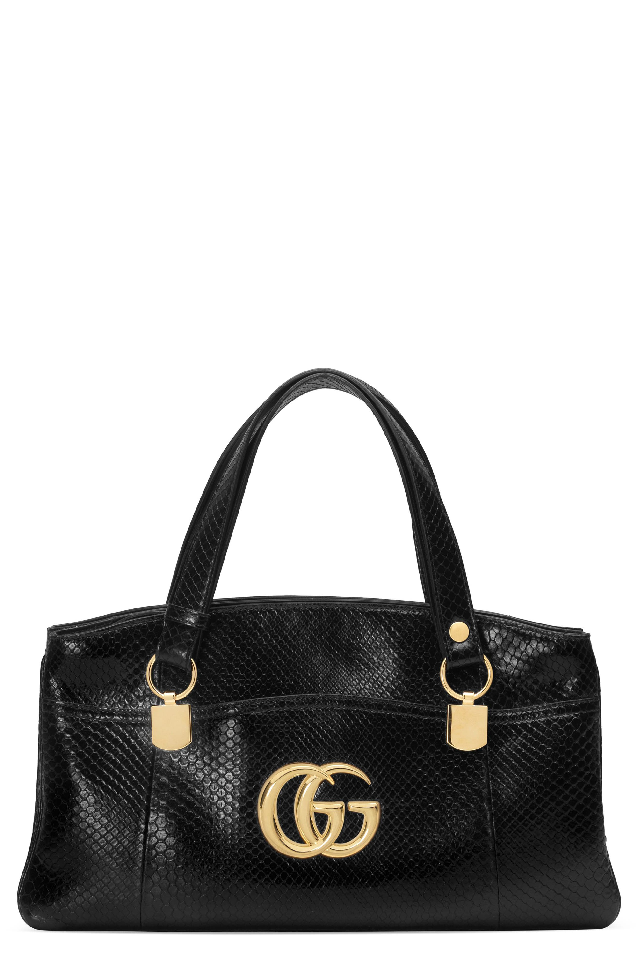 Large Arli Genuine Python Top Handle Bag,                         Main,                         color, 001