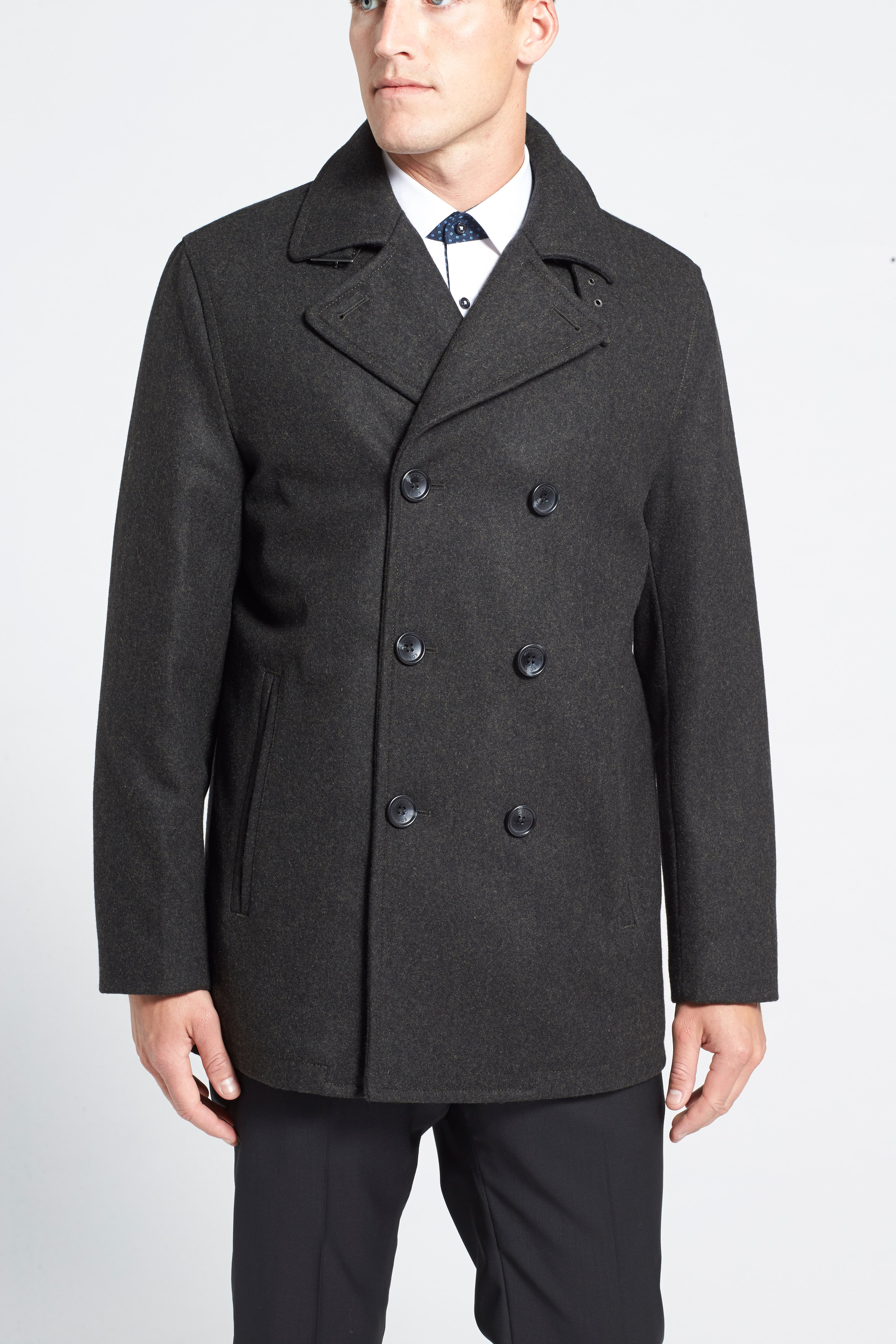 Wool Blend Double Breasted Peacoat,                             Alternate thumbnail 99, color,