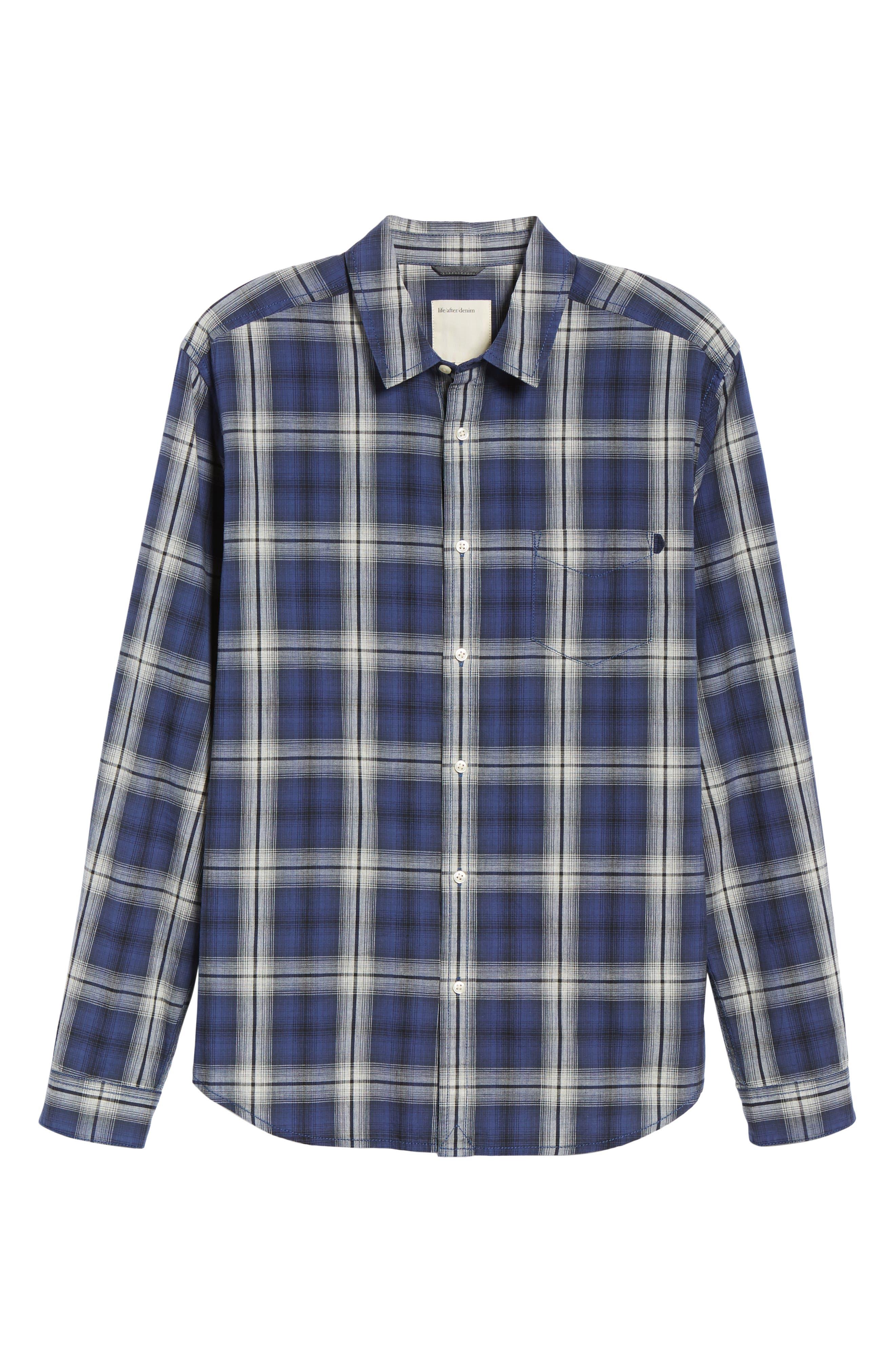Fairmont Regular Fit Windowpane Sport Shirt,                             Alternate thumbnail 5, color,                             BLUE JAY