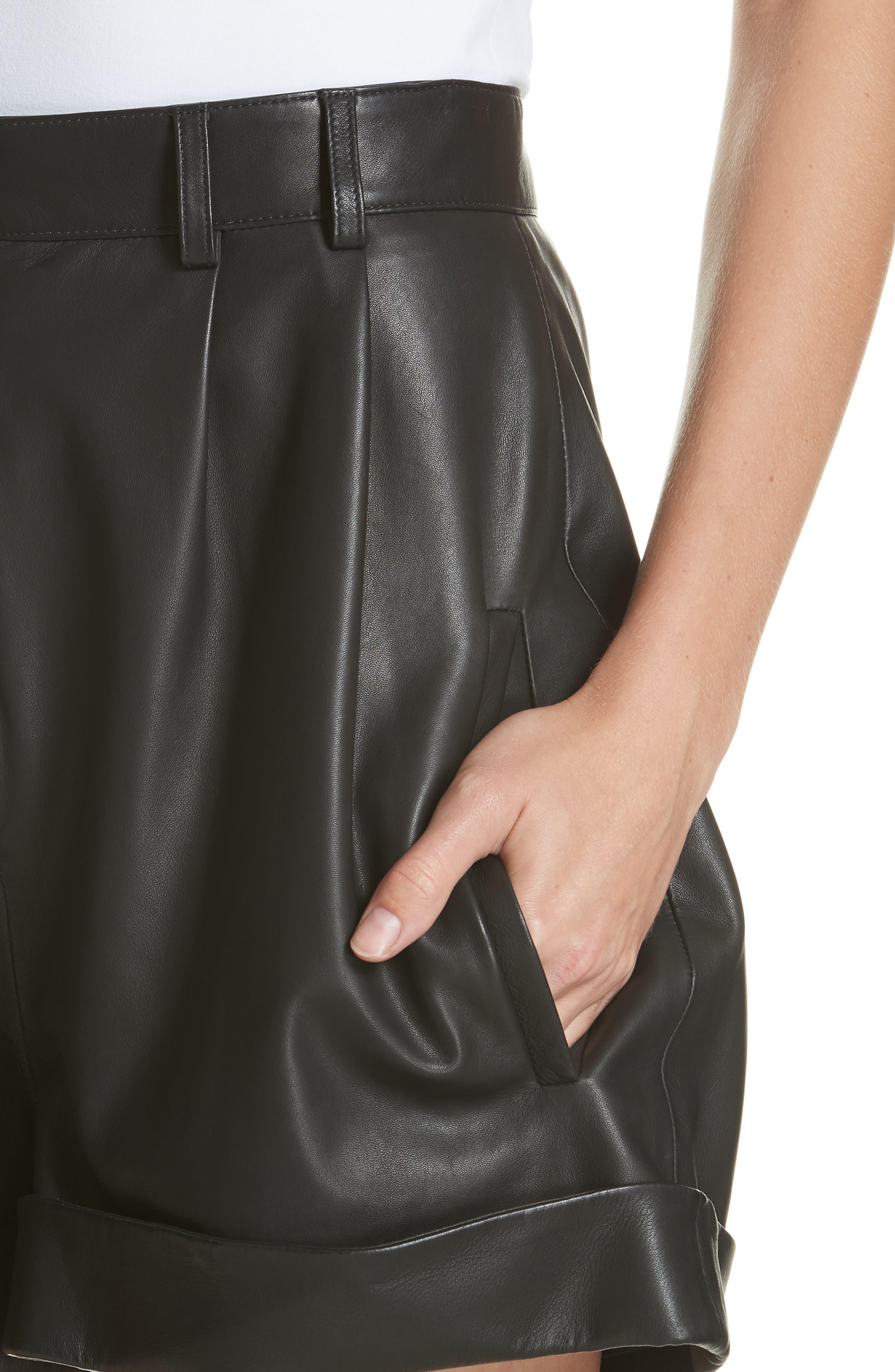 Leather Shorts,                             Alternate thumbnail 4, color,                             BLACK