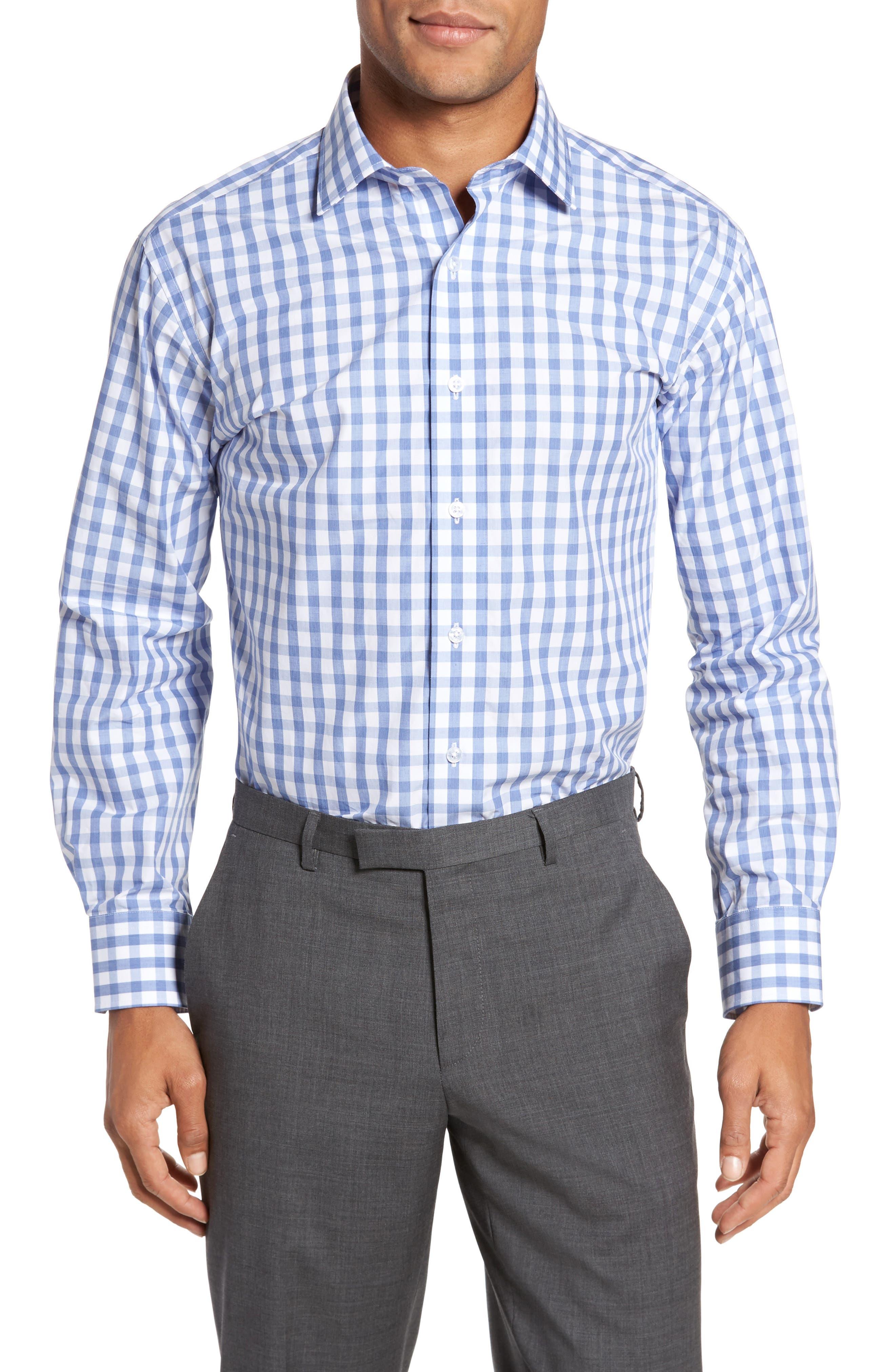 Trim Fit Check Dress Shirt,                         Main,                         color, 450