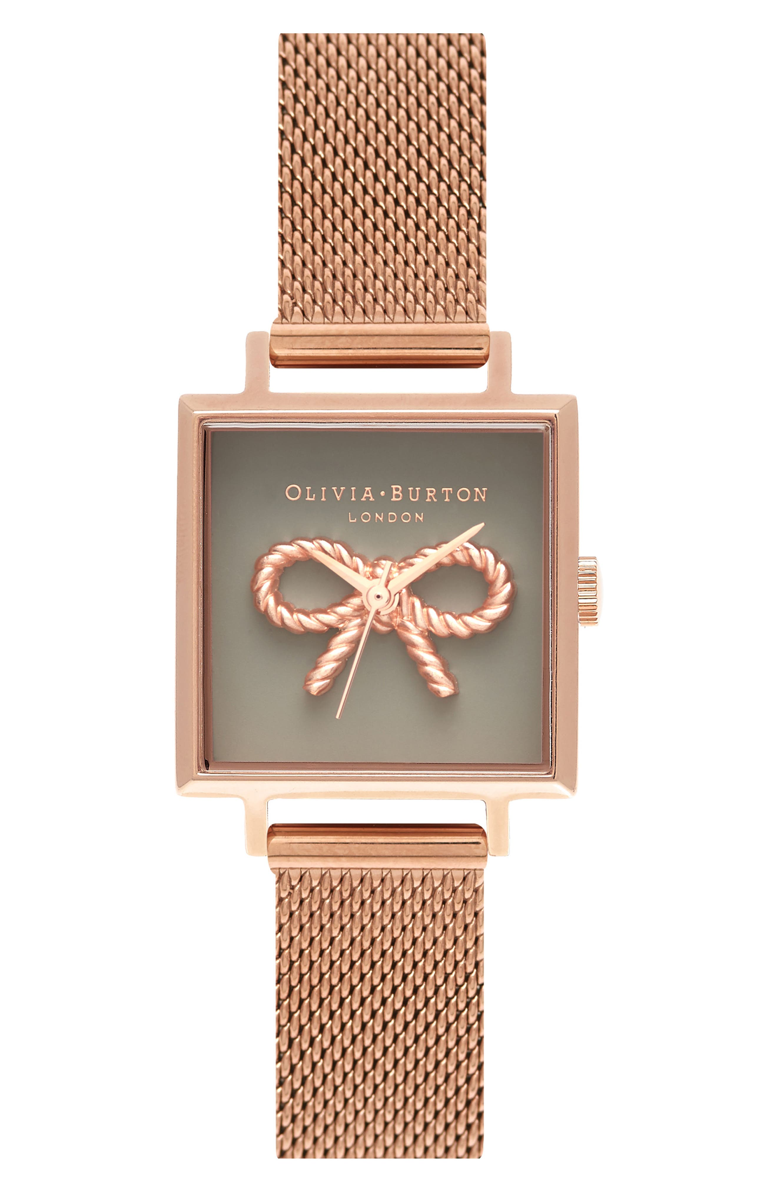 Vintage Bow Square Mesh Strap Watch, 23mm,                         Main,                         color, ROSE GOLD/ BOW/ ROSE GOLD
