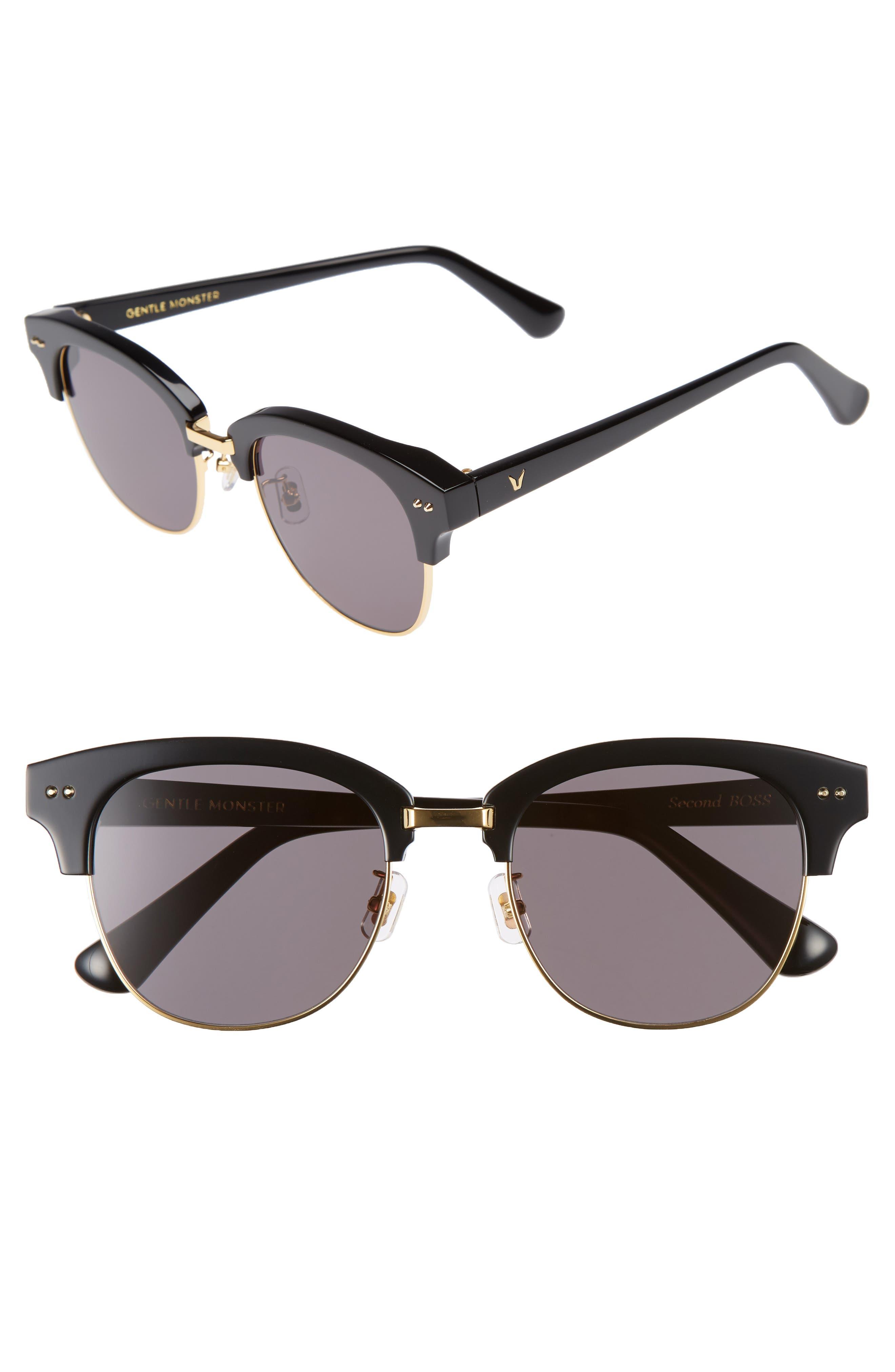 GENTLE MONSTER Second Boss 51mm Retro Sunglasses, Main, color, 001