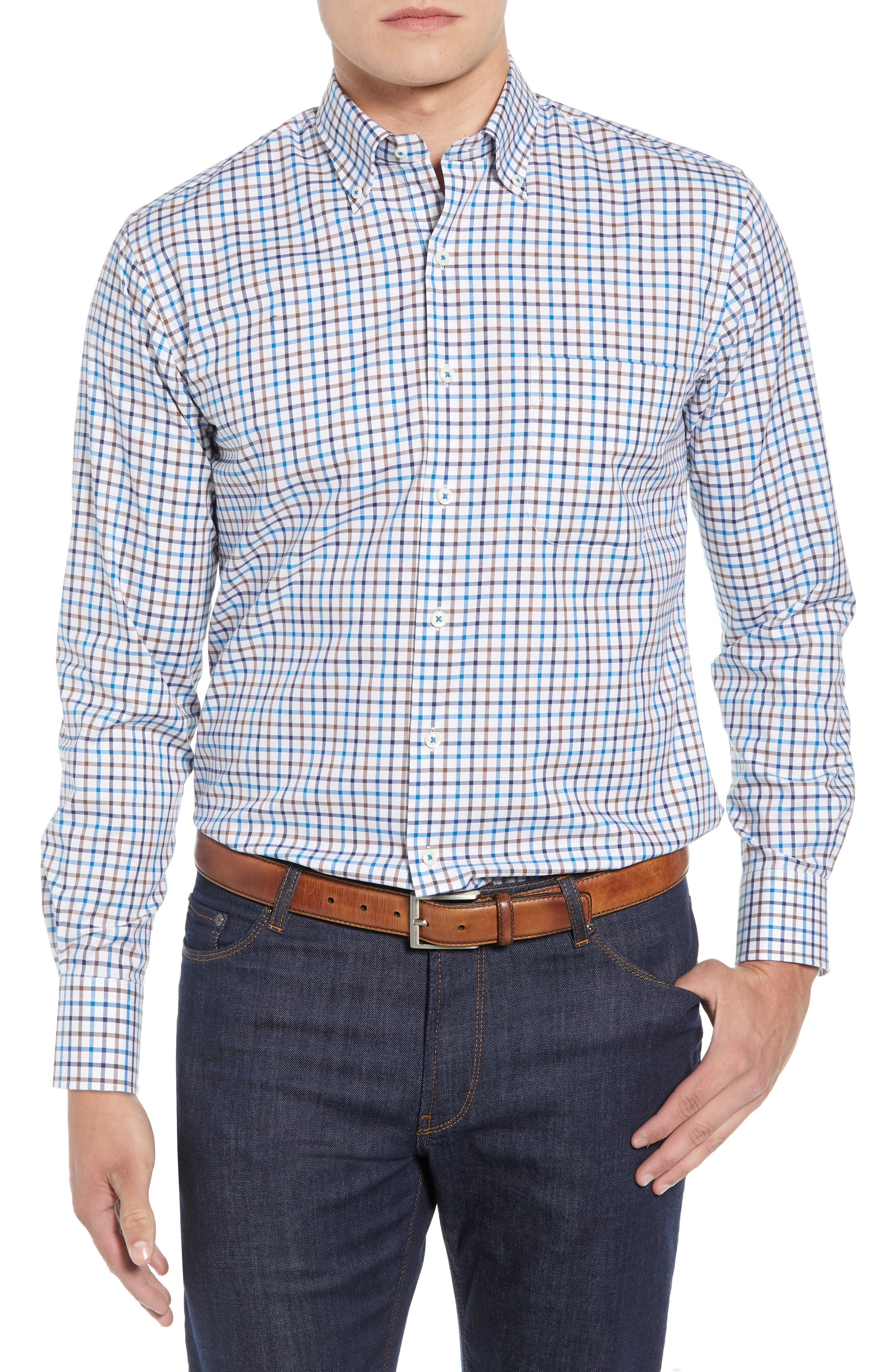 Crown Ease Eyre Regular Fit Tattersall Check Sport Shirt,                         Main,                         color, BLUE