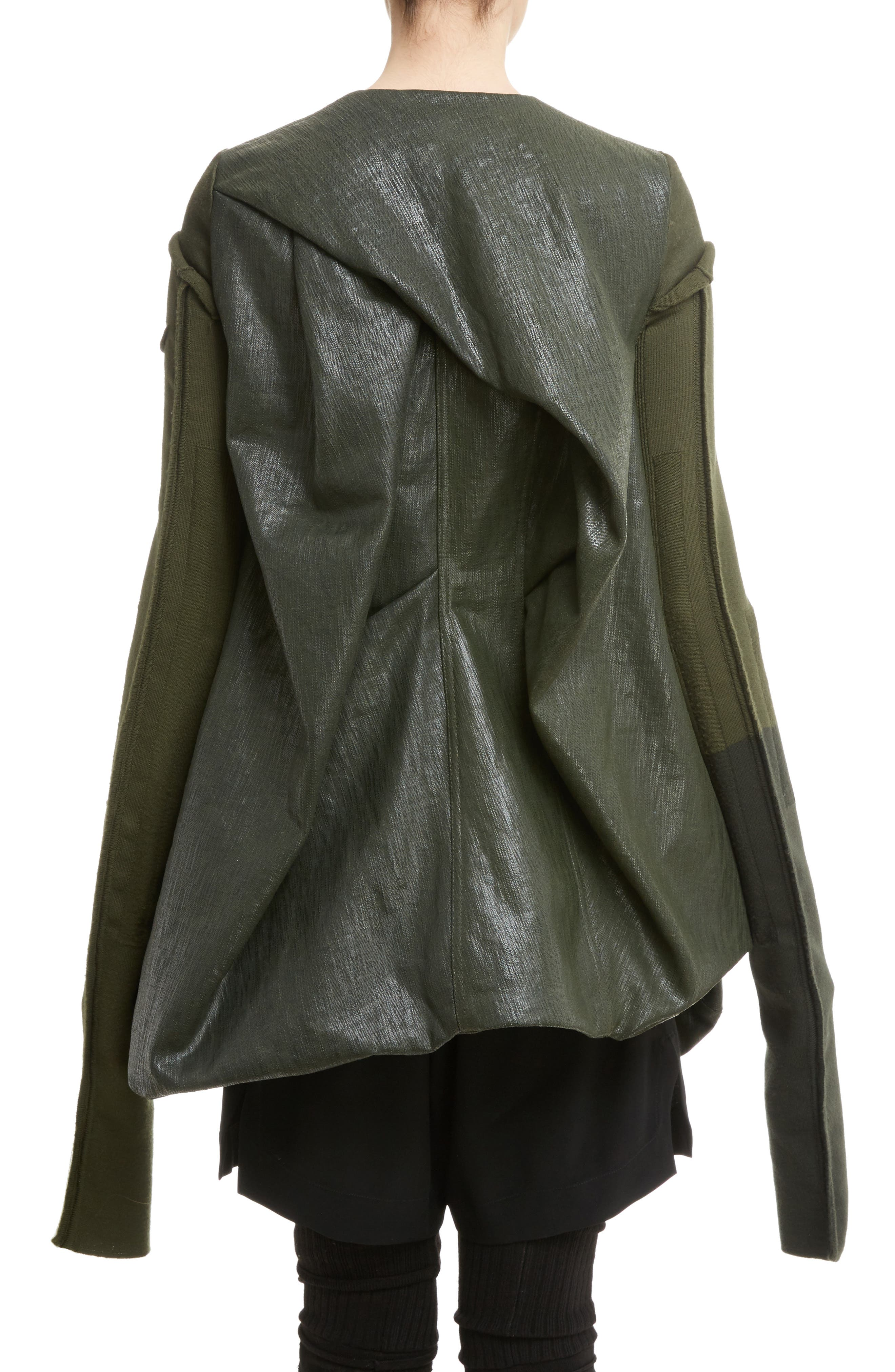 Knit Sleeve Waxed Cotton Jacket,                             Alternate thumbnail 2, color,