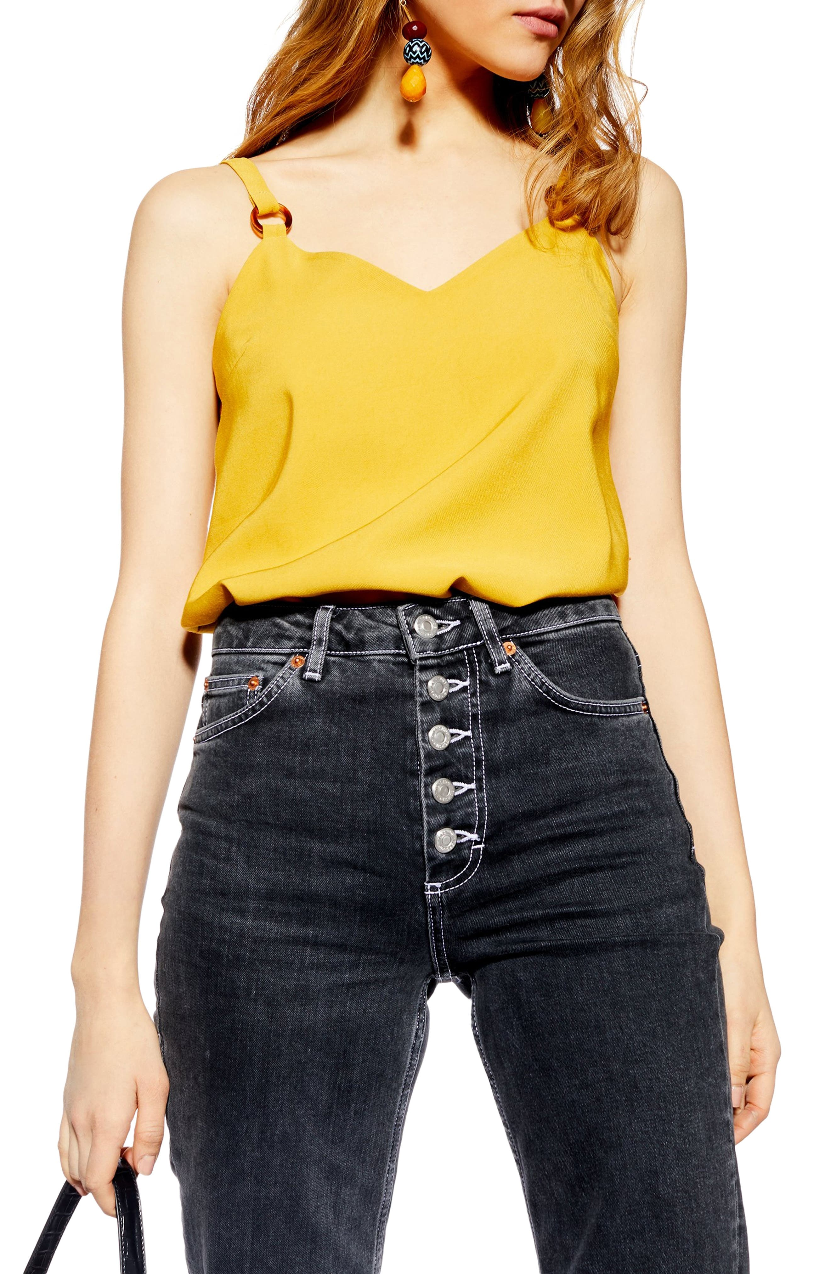 Topshop Tilda Ring Camisole Top, US (fits like 10-12) - Yellow