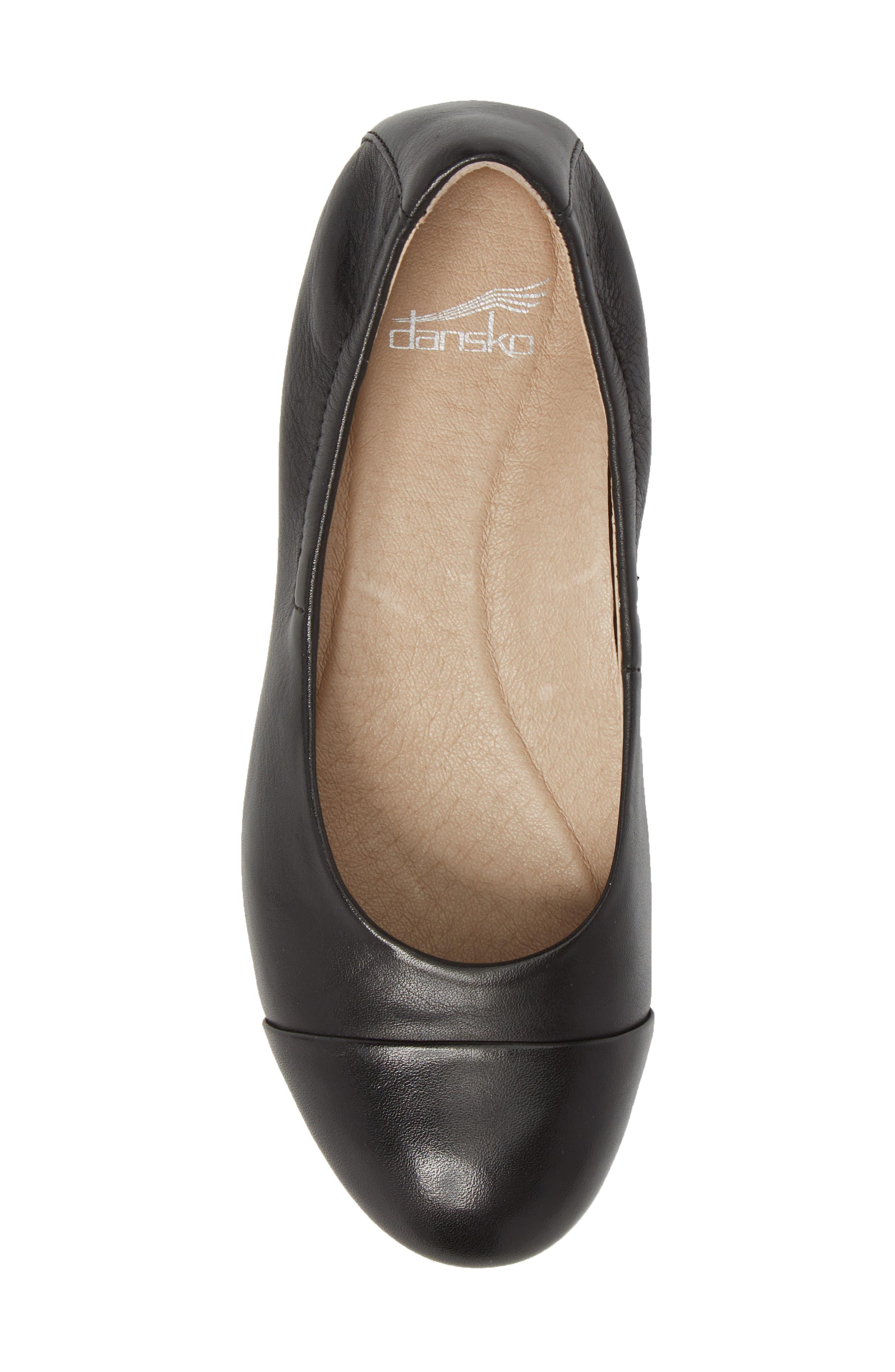 Lisanne Cap Toe Ballet Flat,                             Alternate thumbnail 5, color,                             BLACK MILLED LEATHER