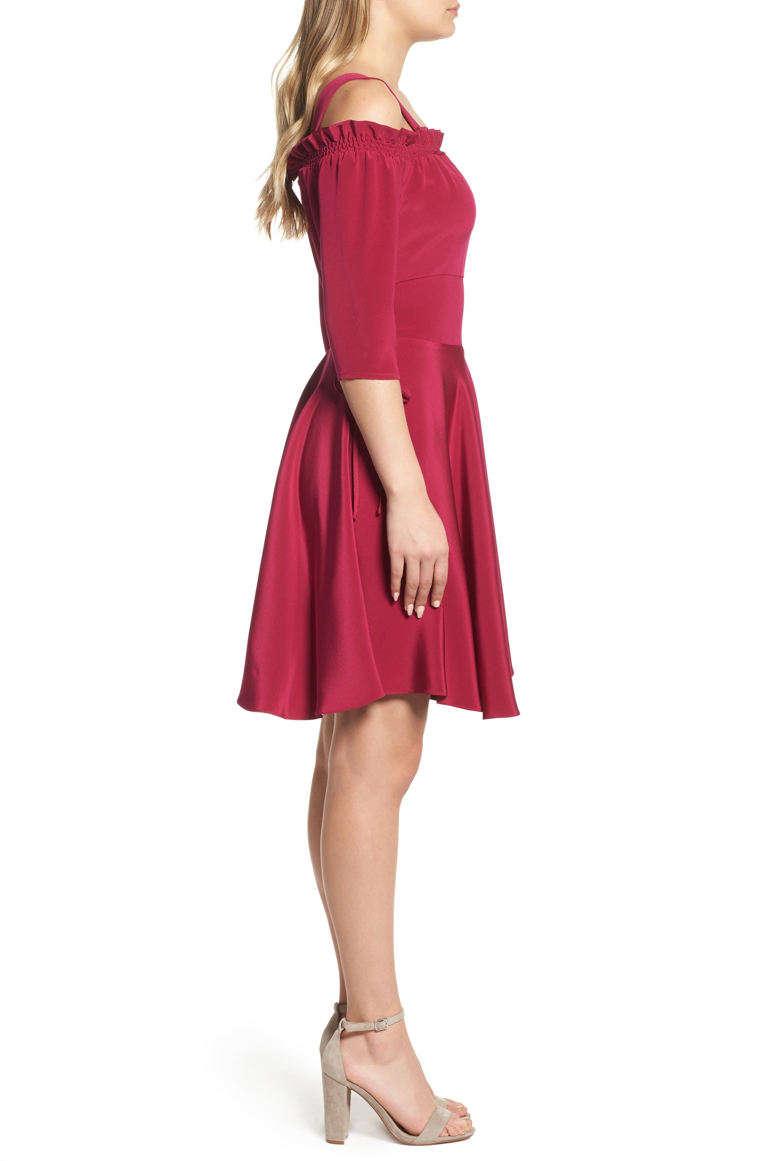 Cold Shoulder A-Line Dress,                             Alternate thumbnail 3, color,                             654