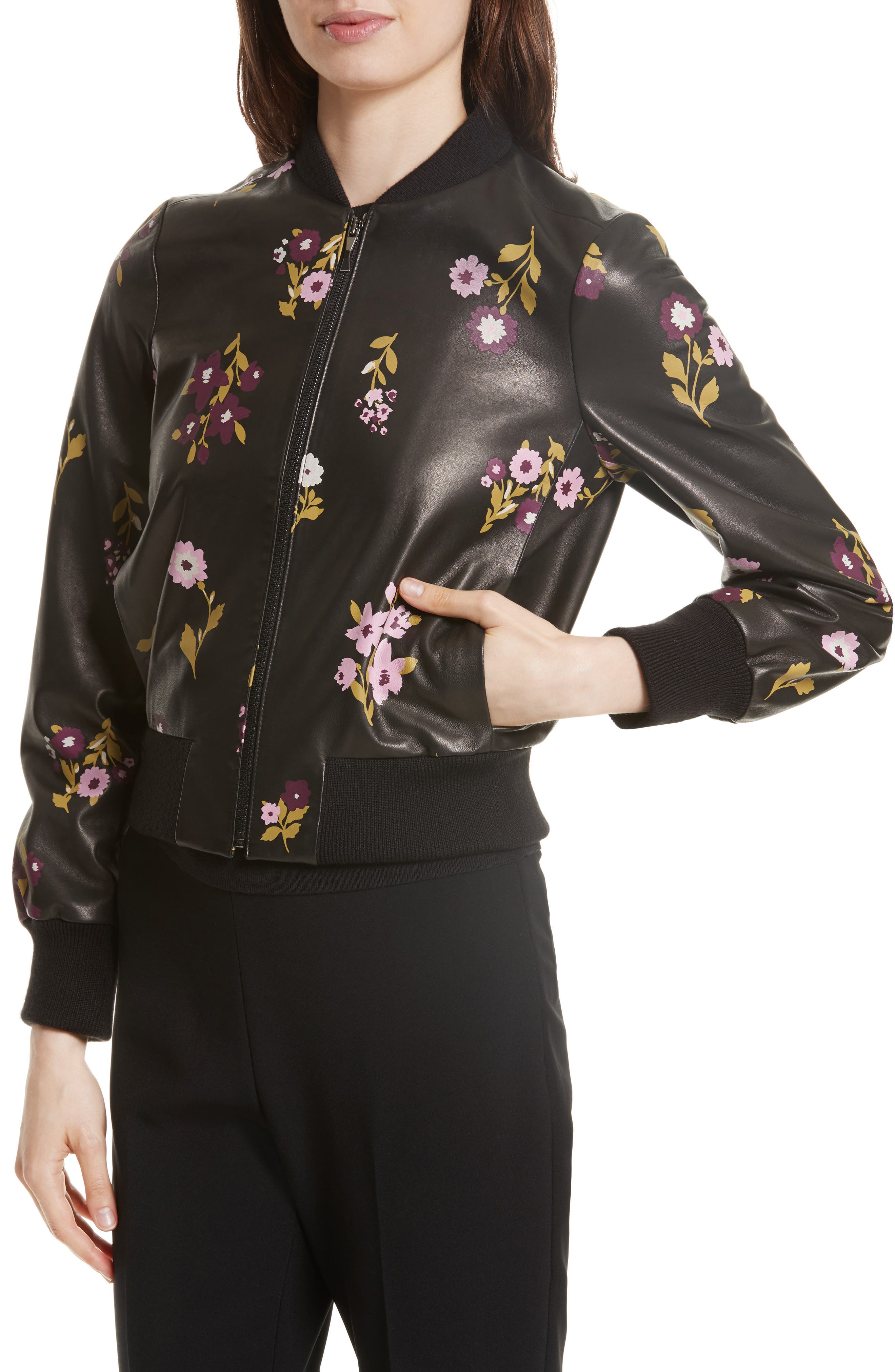 in bloom leather bomber jacket,                             Alternate thumbnail 4, color,                             006