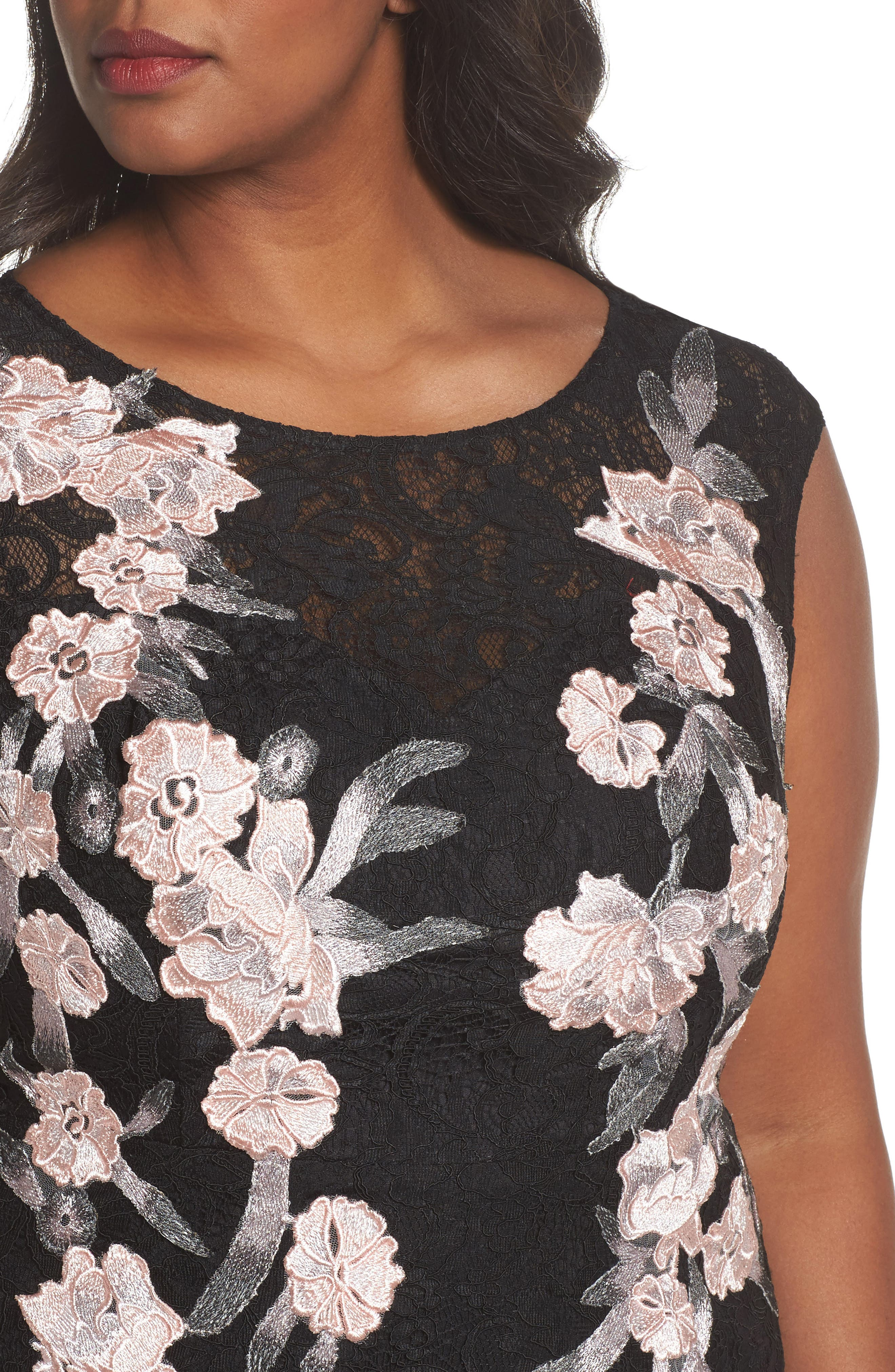 Floral Embroidered Lace Gown,                             Alternate thumbnail 4, color,                             BLACK/ BLUSH