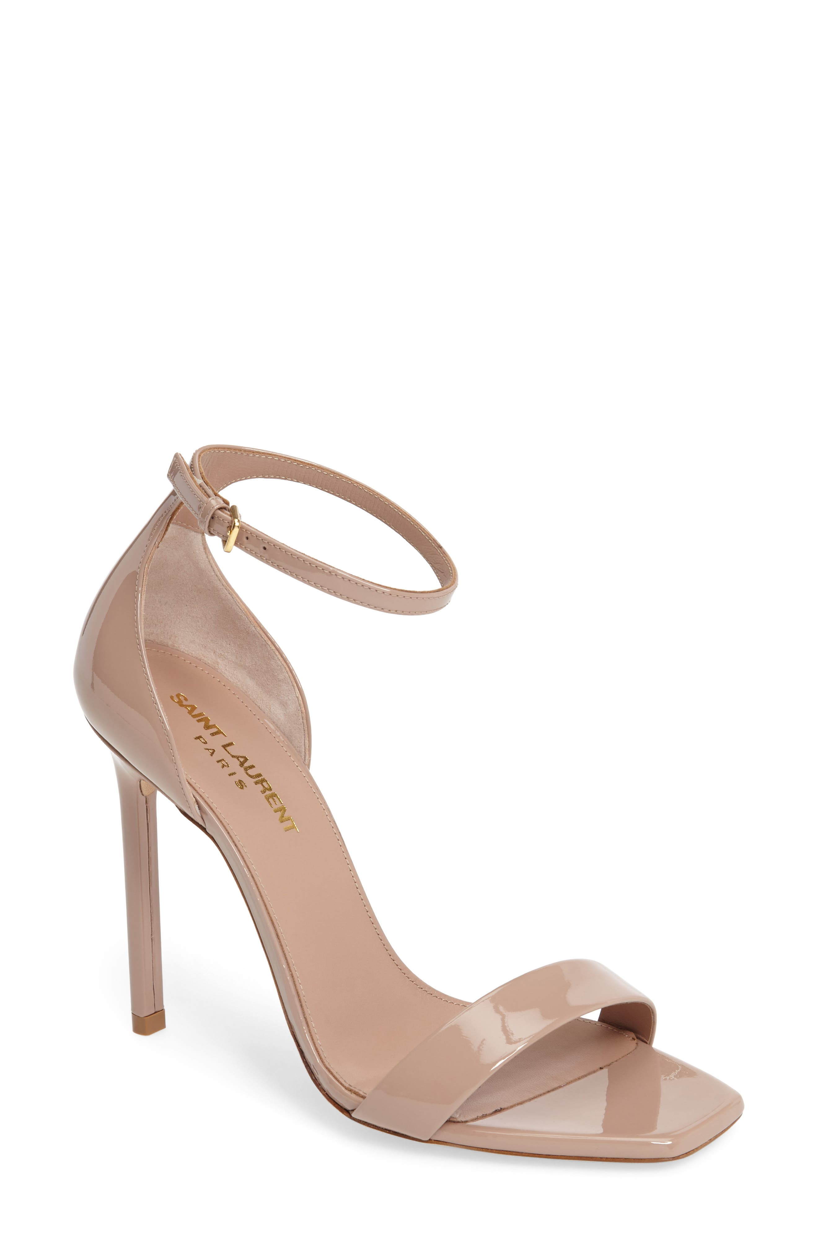 Amber Ankle Strap Sandal,                         Main,                         color, NUDE PATENT