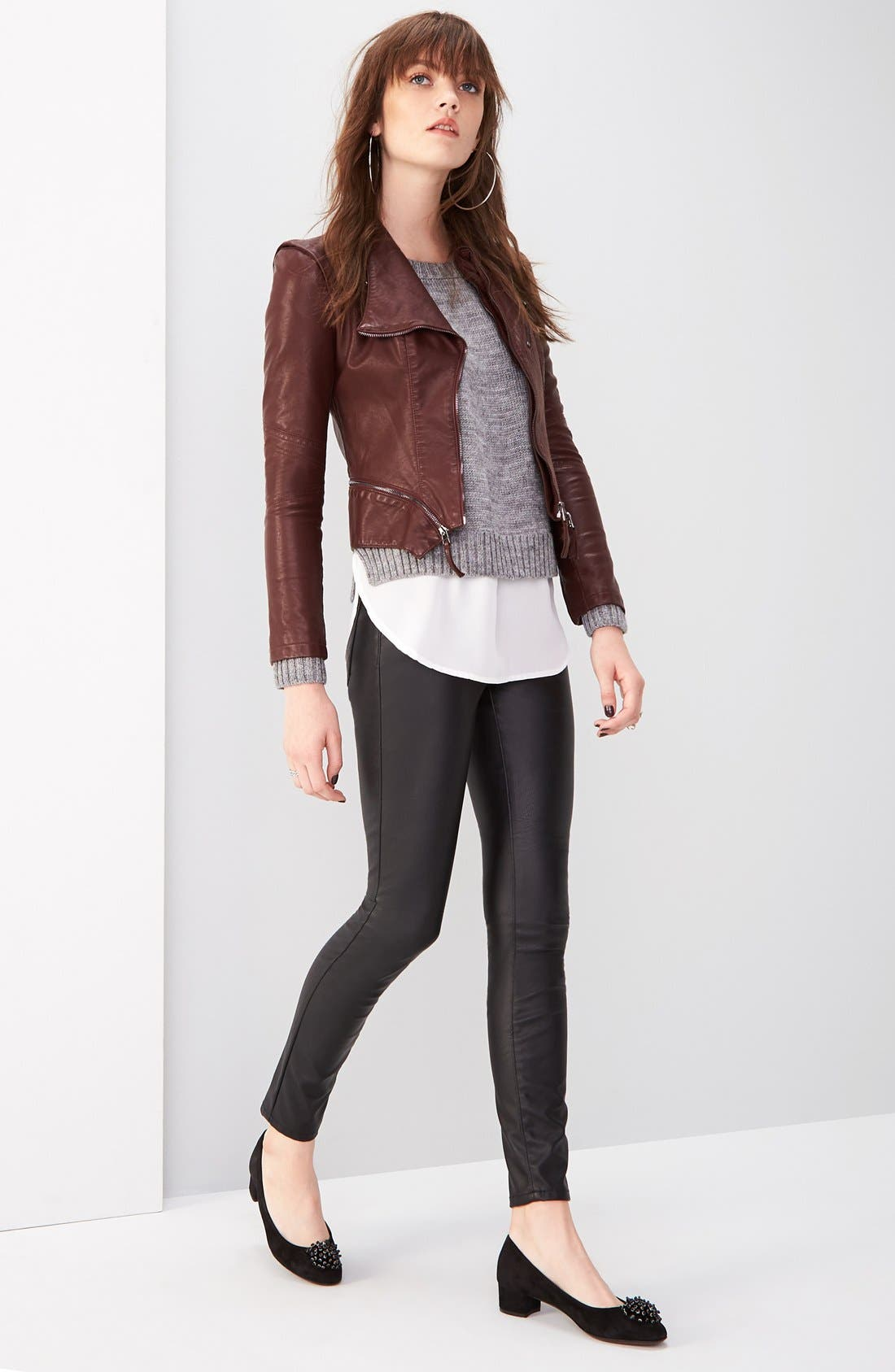 Faux Leather Skinny Pants,                             Alternate thumbnail 4, color,                             005