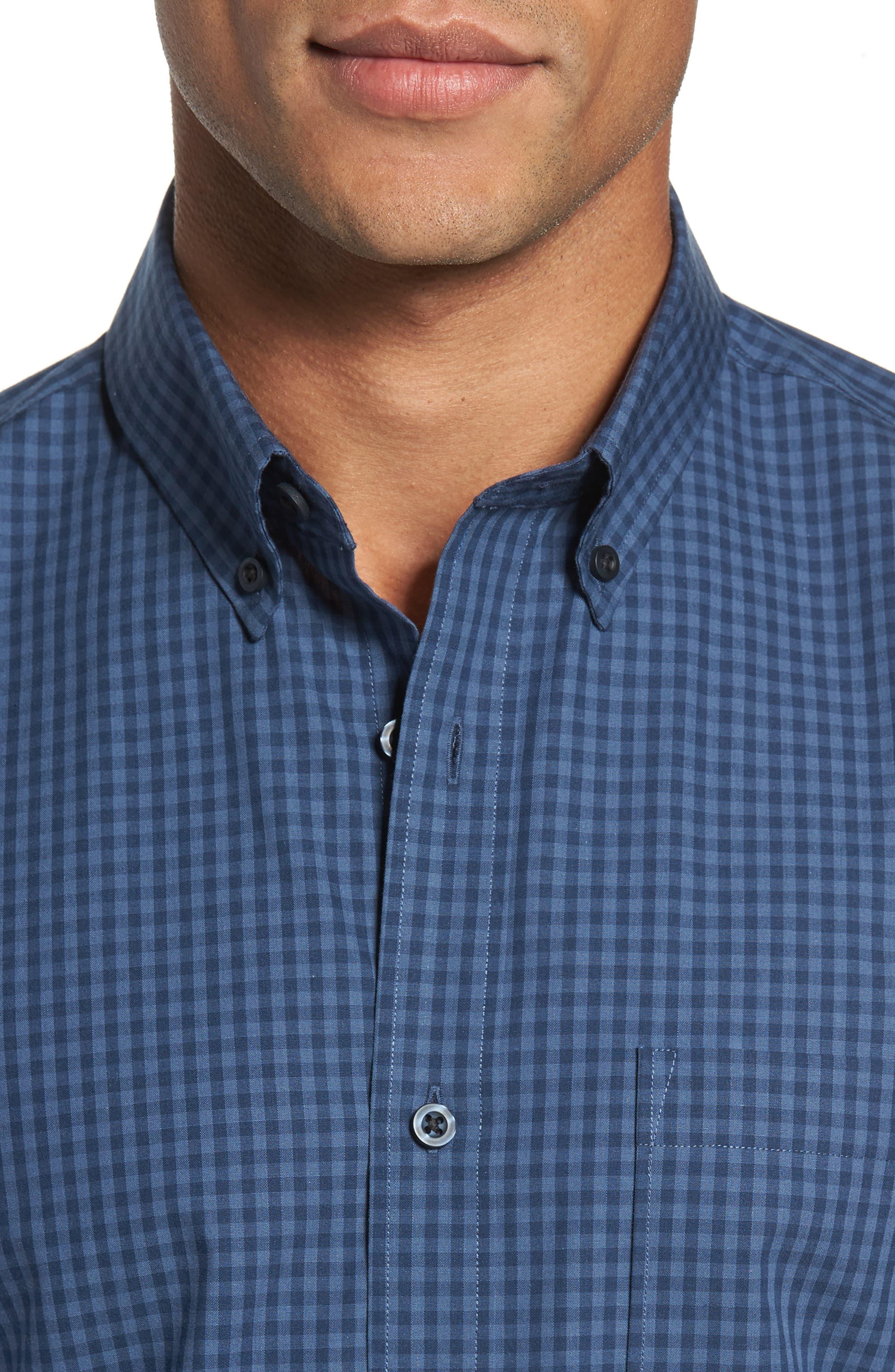 Trim Fit Non-Iron Gingham Sport Shirt,                             Alternate thumbnail 4, color,                             420