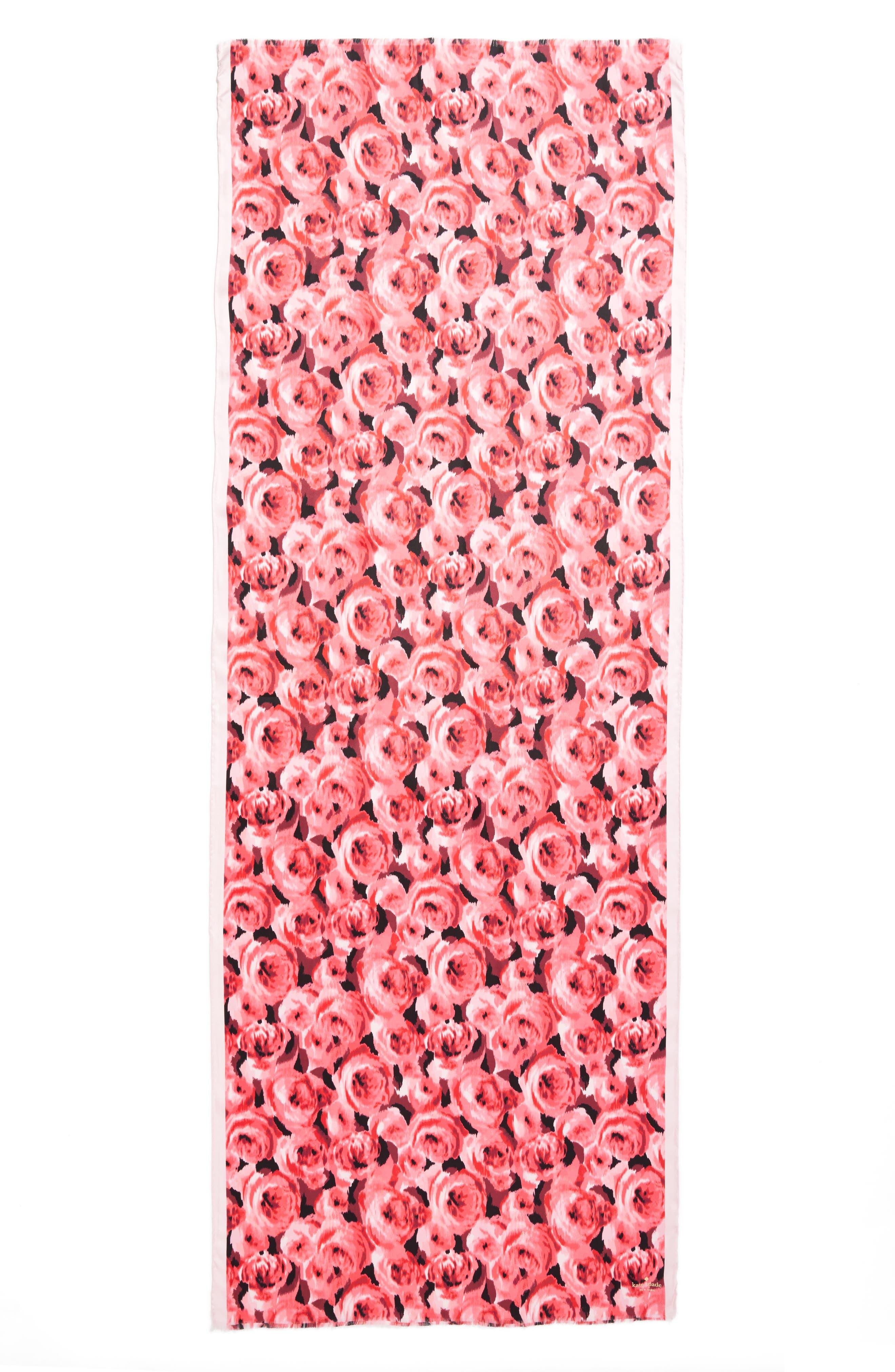 tapestry rose silk oblong scarf,                             Alternate thumbnail 3, color,