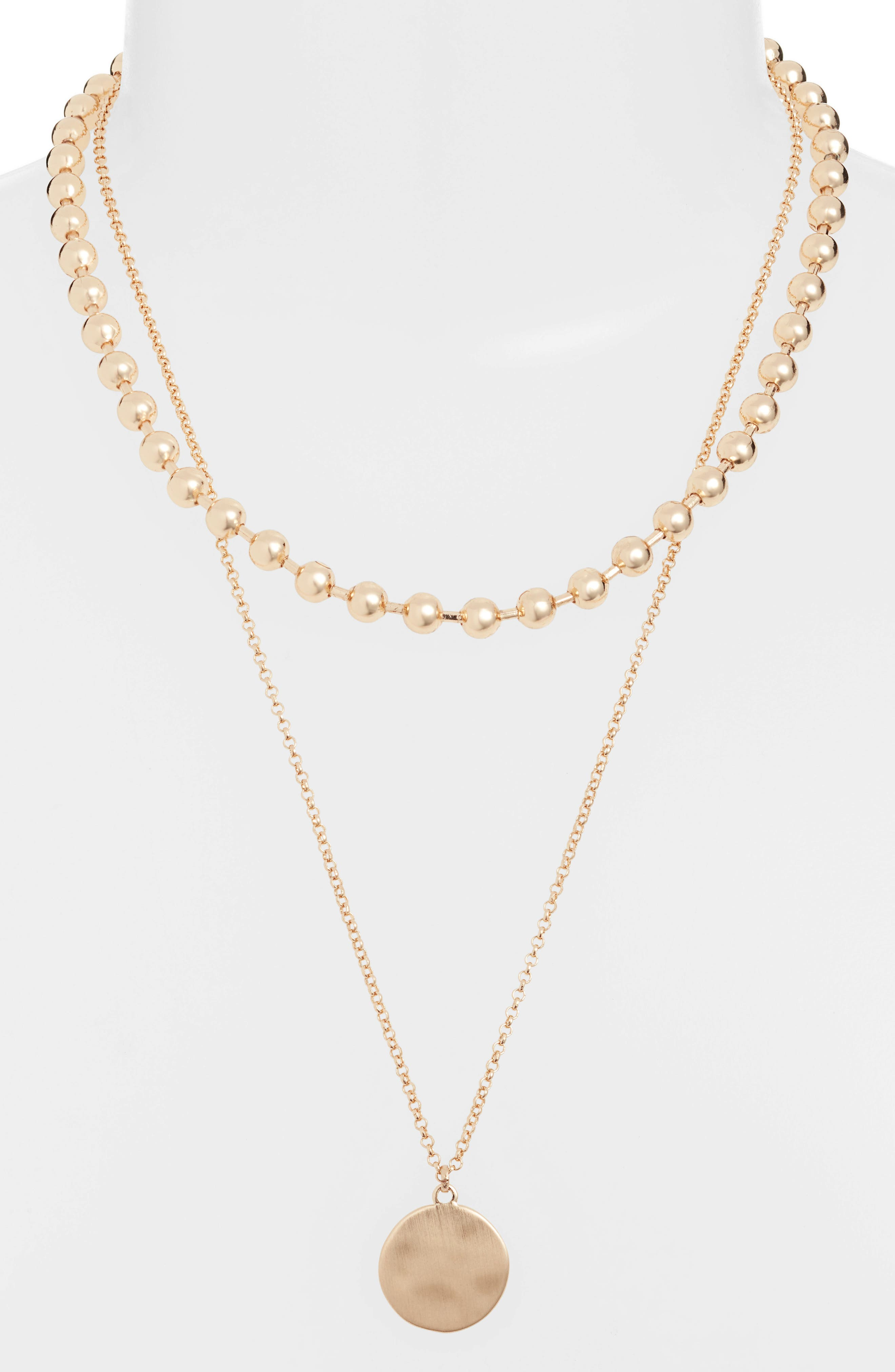 2-in-1 Ball Chain Disc Necklace,                             Alternate thumbnail 2, color,                             710