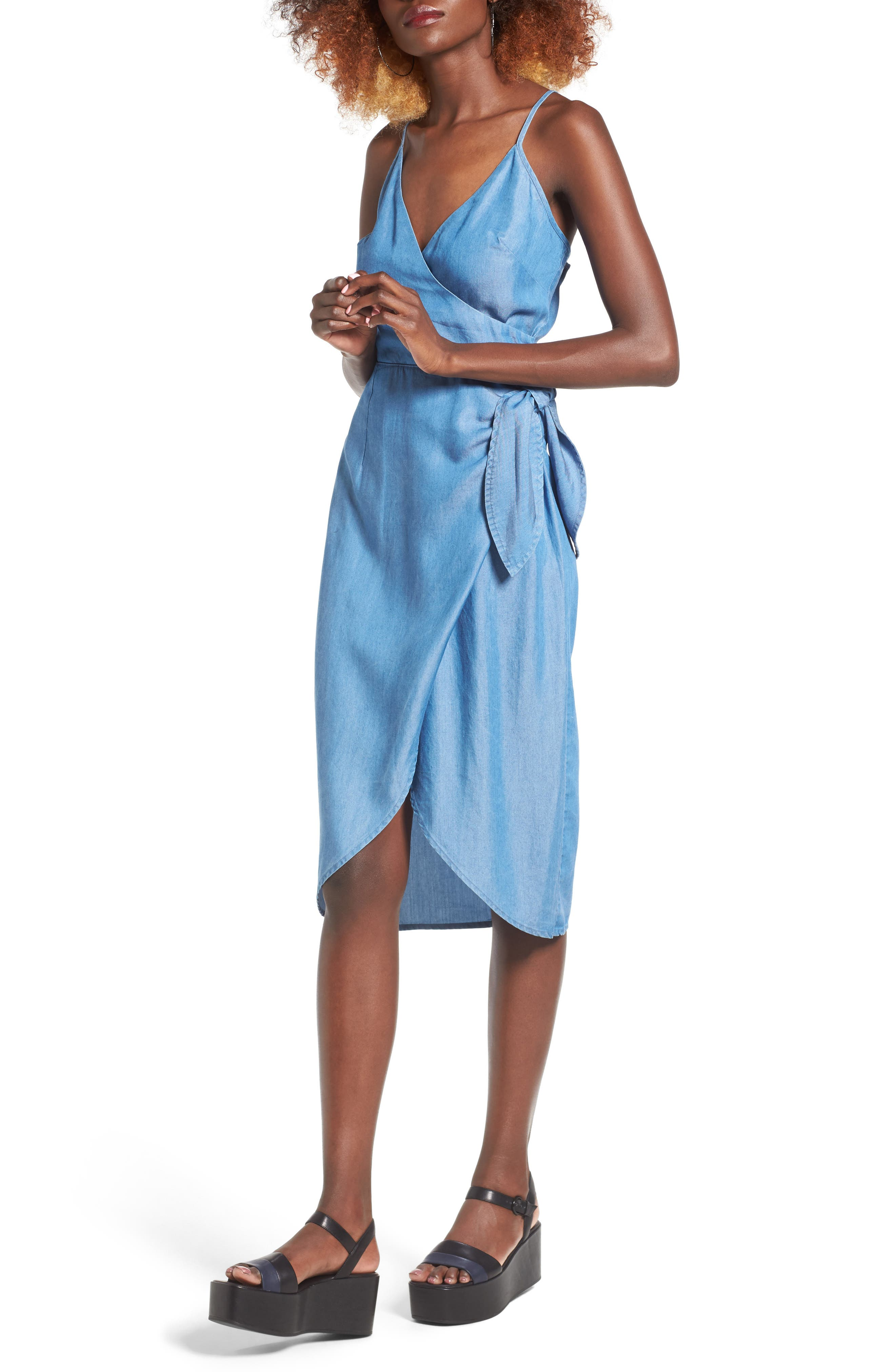 Orchid Chambray Wrap Dress, Main, color, 400