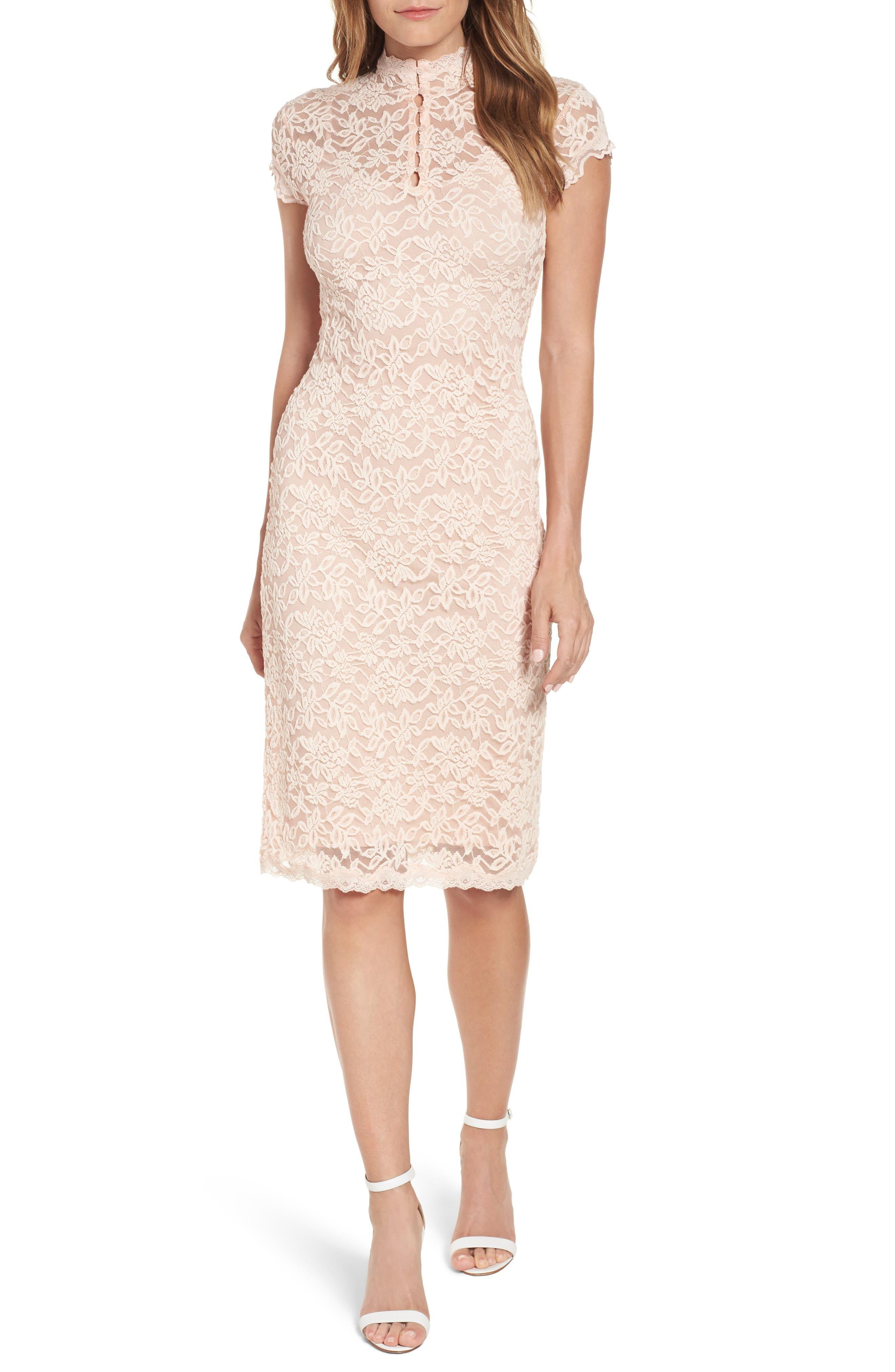 Delicia Lace Body-Con Dress,                             Main thumbnail 1, color,                             PALE DOGWOOD