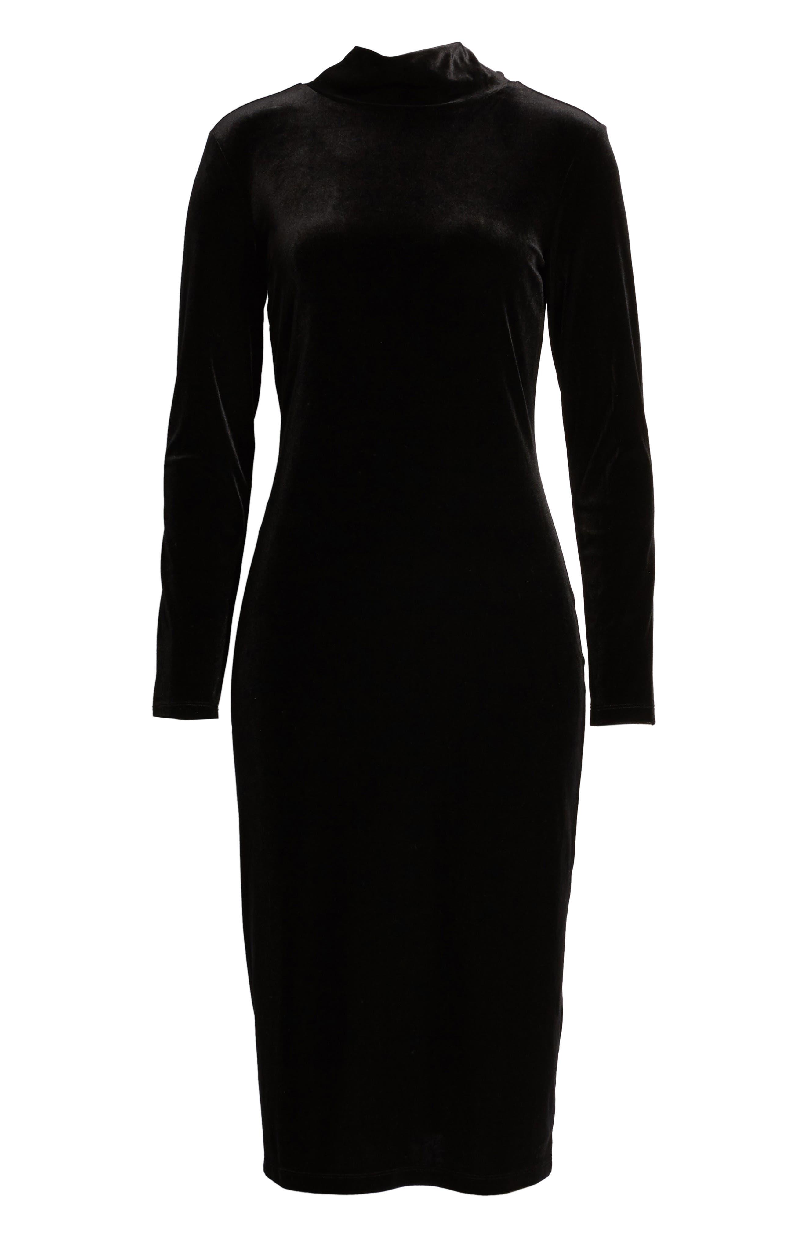 1901,                             Bow Back Stretch Velvet Dress,                             Alternate thumbnail 7, color,                             001