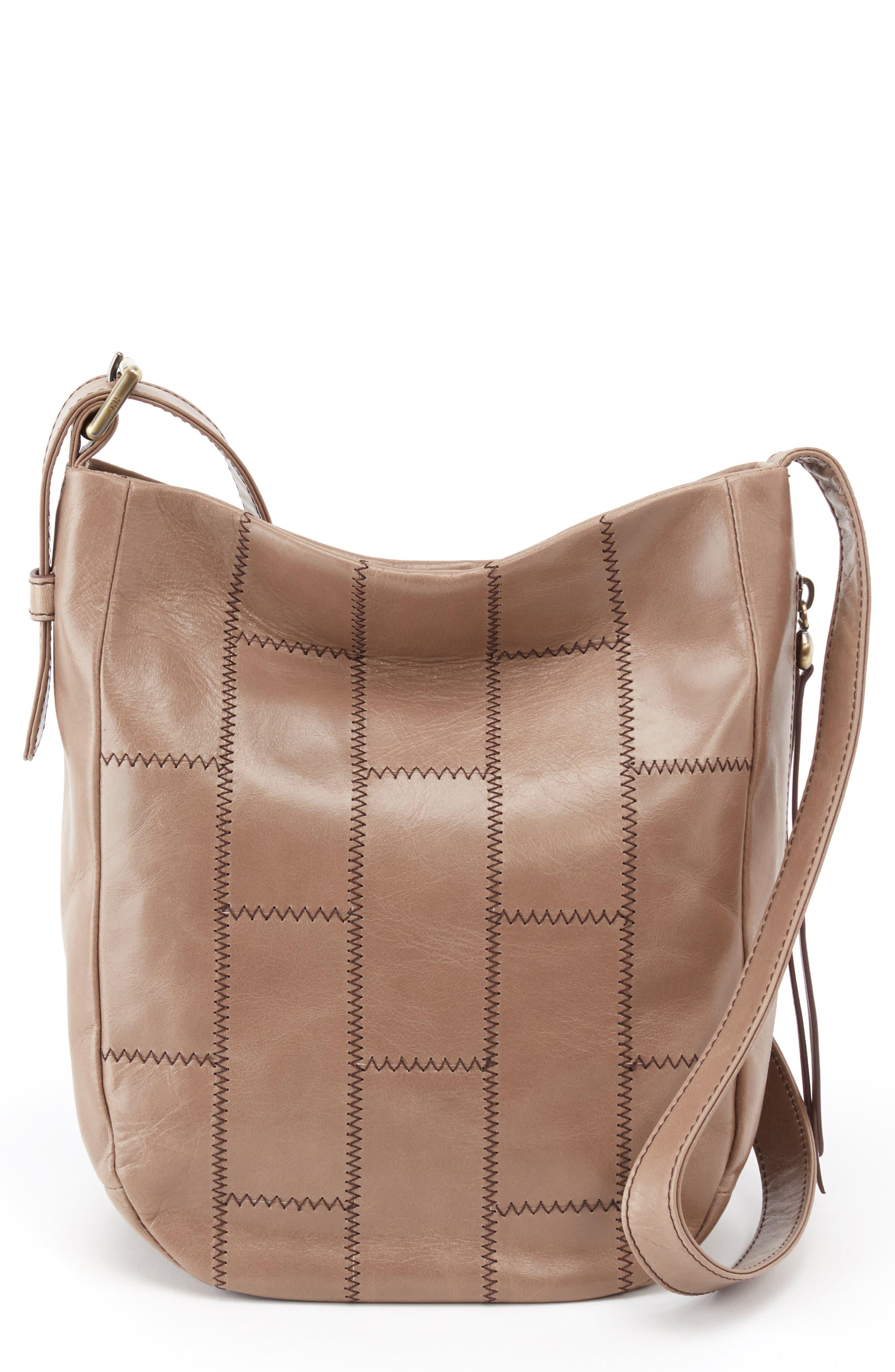 HOBO,                             Kharma Patchwork Calfskin Leather Bucket Bag,                             Main thumbnail 1, color,                             COBBLESTONE