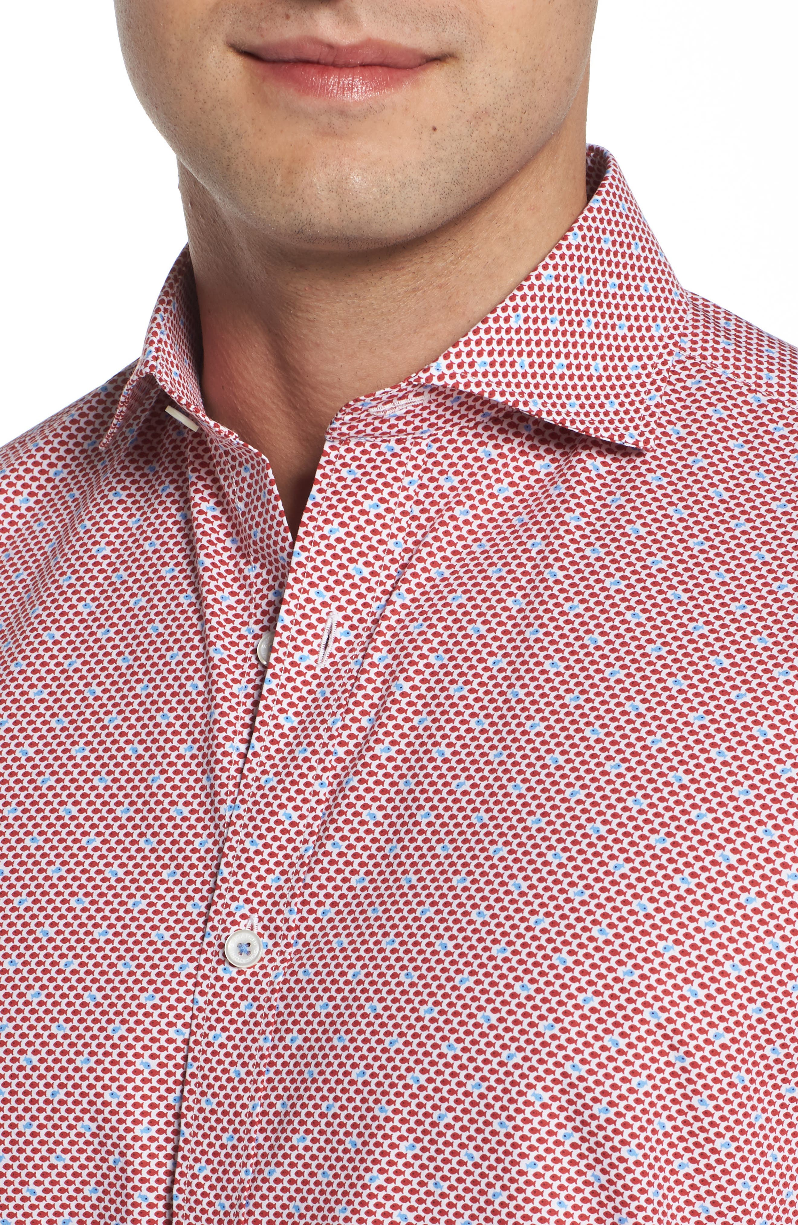 Classic Fit Fish Print Sport Shirt,                             Alternate thumbnail 4, color,                             627