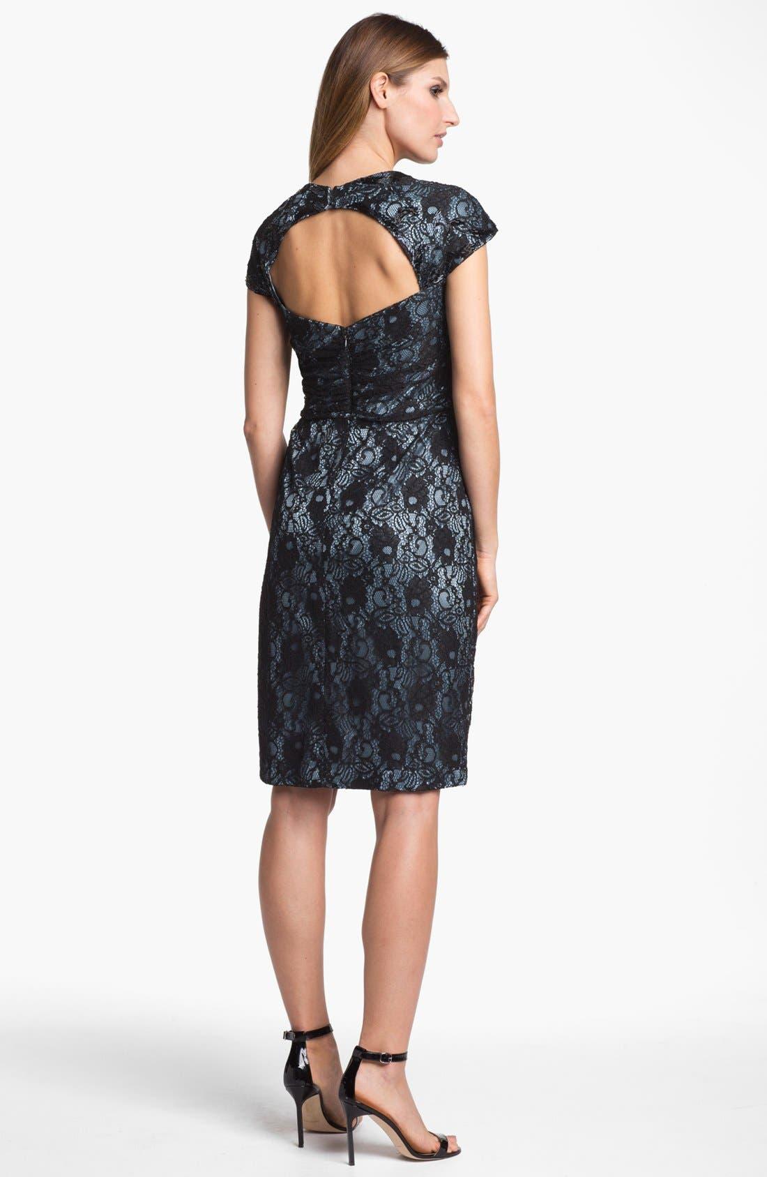 Cap Sleeve Lace Sheath Dress,                             Alternate thumbnail 2, color,                             400
