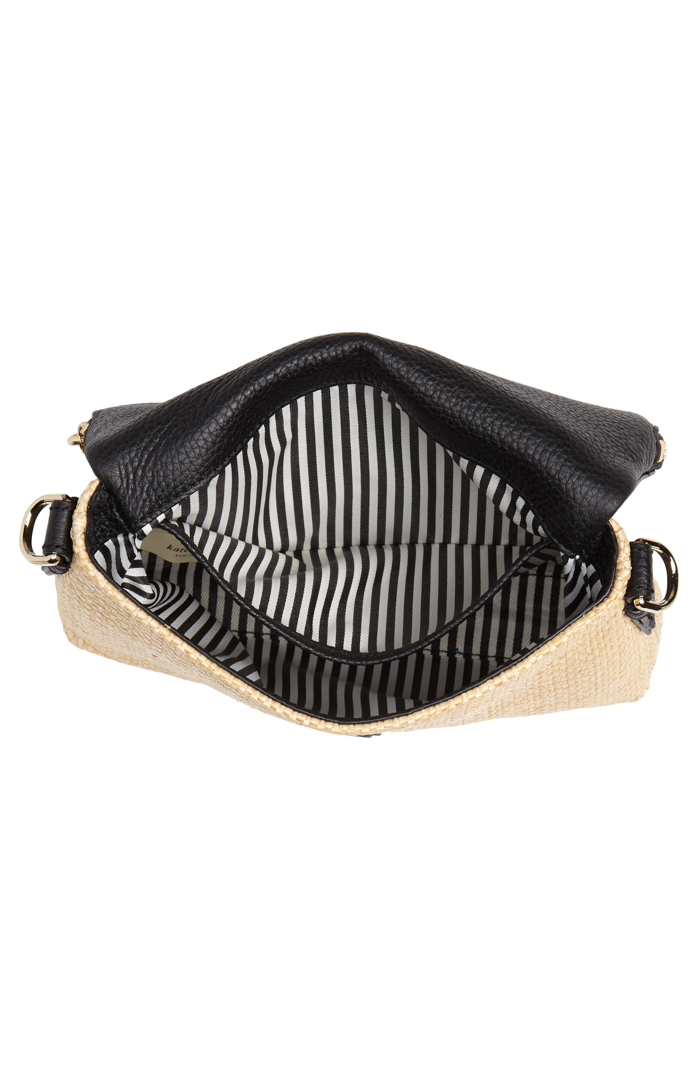 jackson street – harlyn straw & leather crossbody bag,                             Alternate thumbnail 4, color,