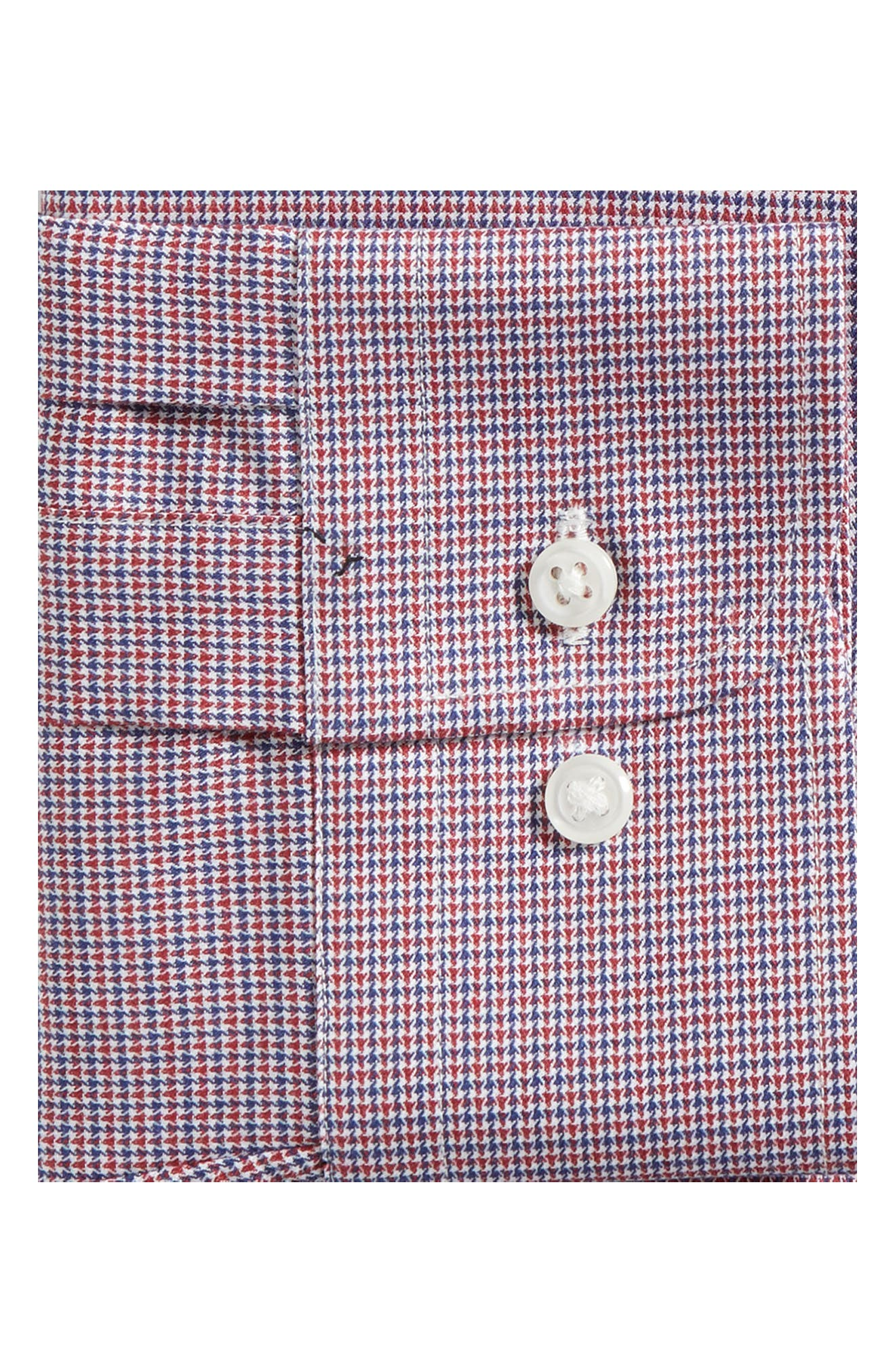 Trim Fit Check Dress Shirt,                             Alternate thumbnail 6, color,                             RED RUBY