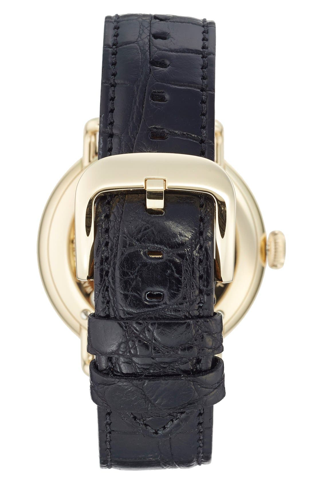 The Canfield Alligator Strap Watch, 43mm,                             Alternate thumbnail 2, color,                             BLACK/ WHITE