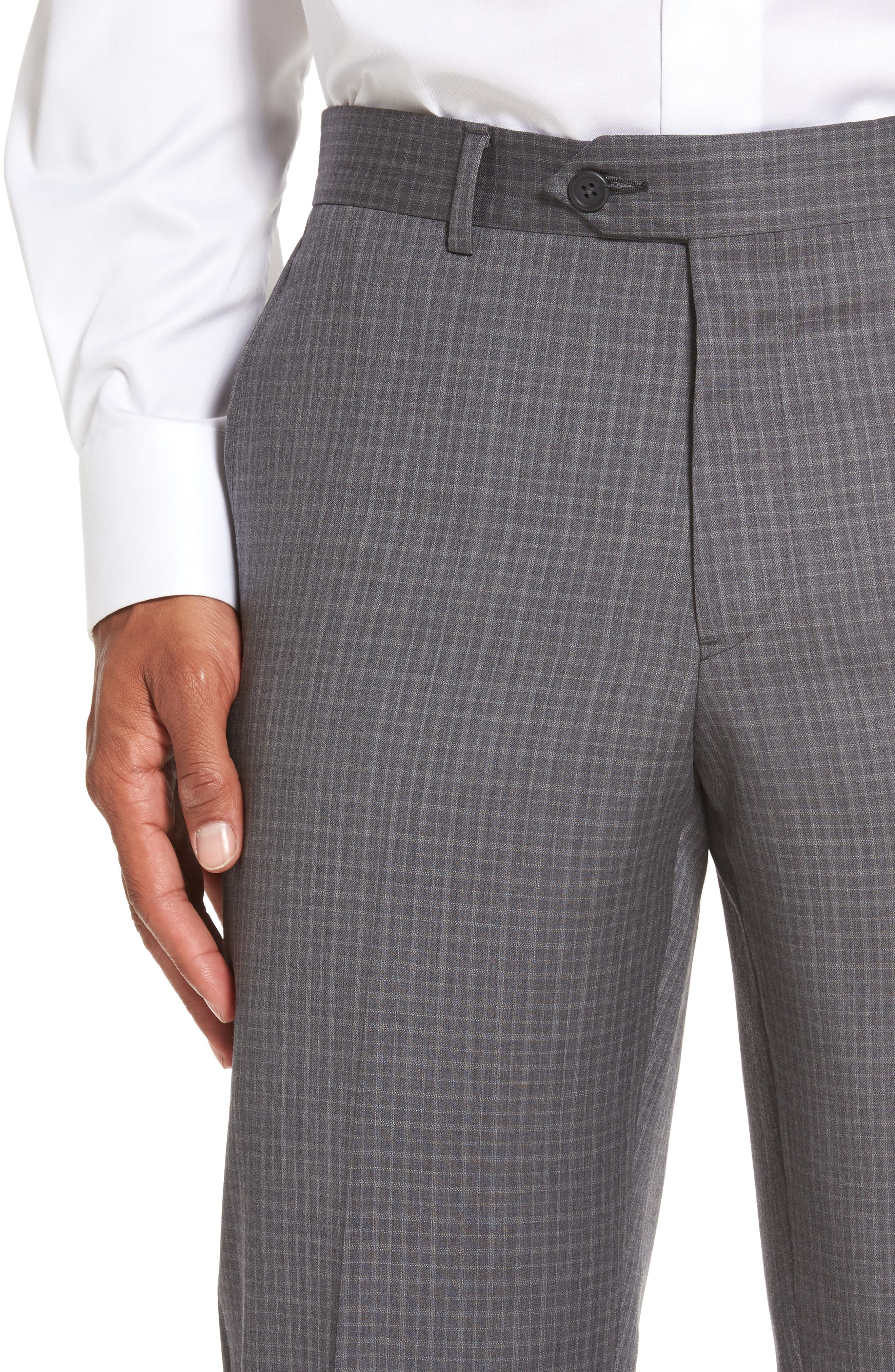 Flat Front Wool Trousers,                             Alternate thumbnail 5, color,                             099