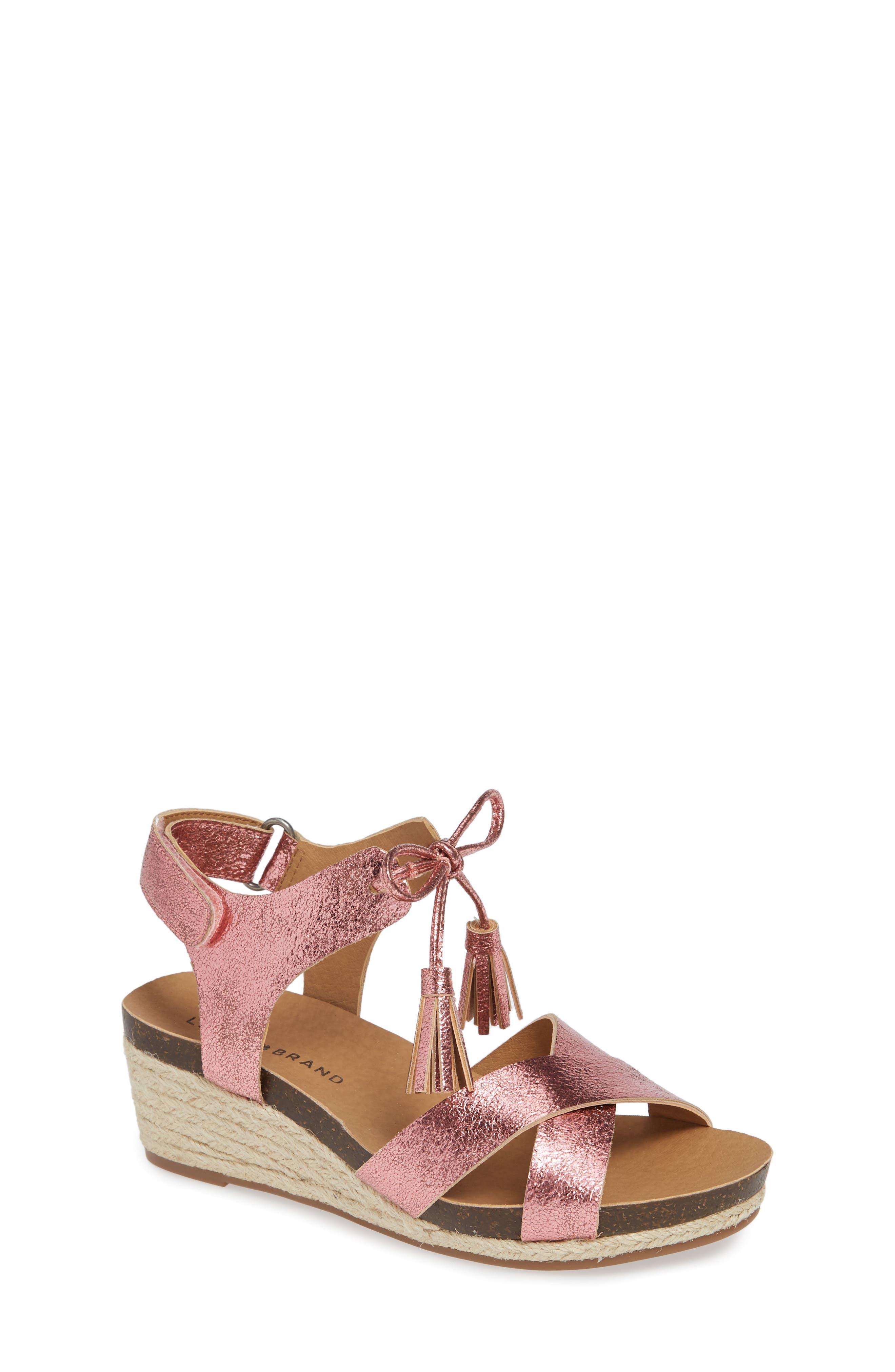 Jelessa Glittery Wedge Sandal,                         Main,                         color, FLAMINGO