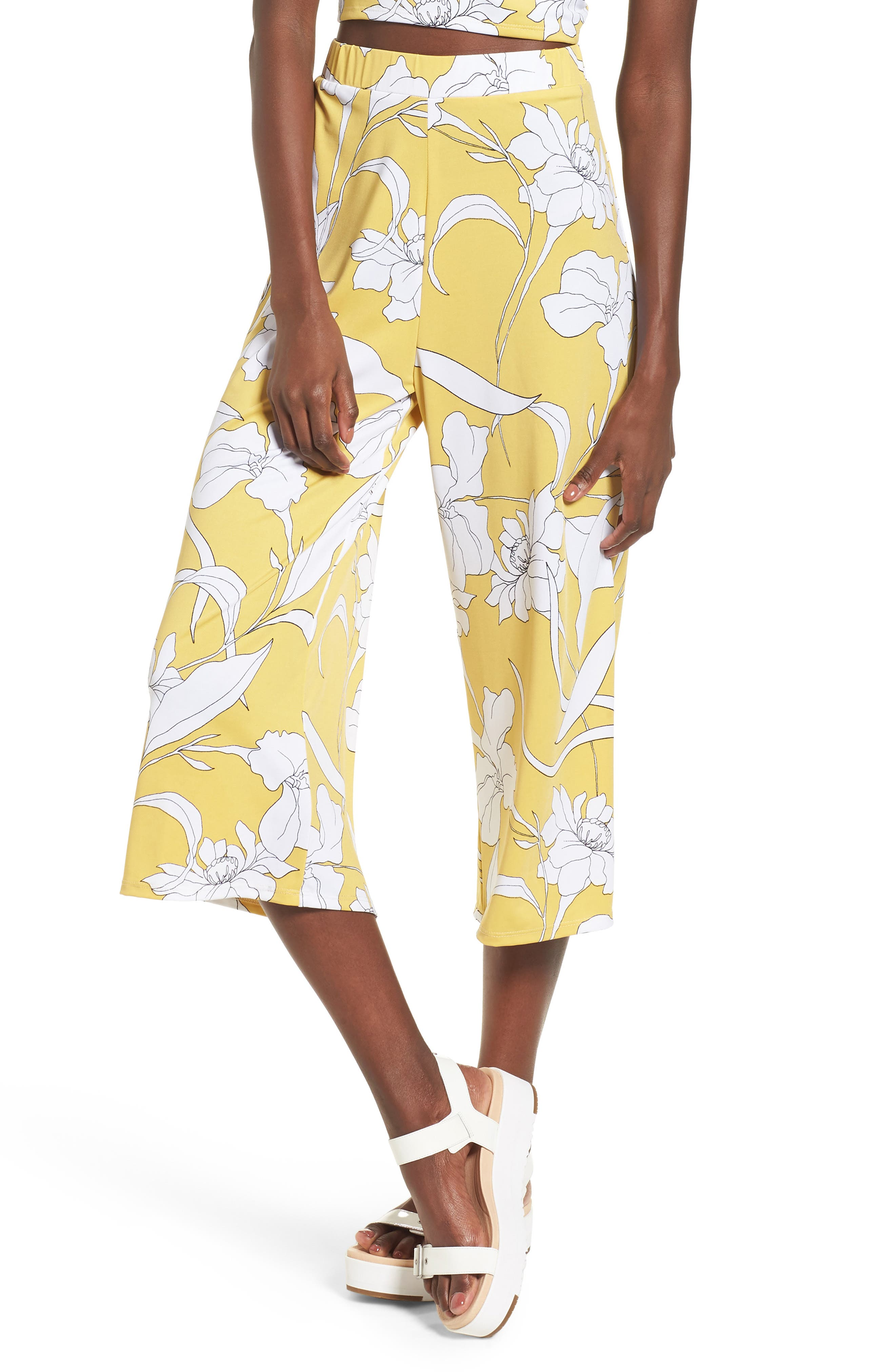 Floral Print Wide Leg Crop Pants,                         Main,                         color,
