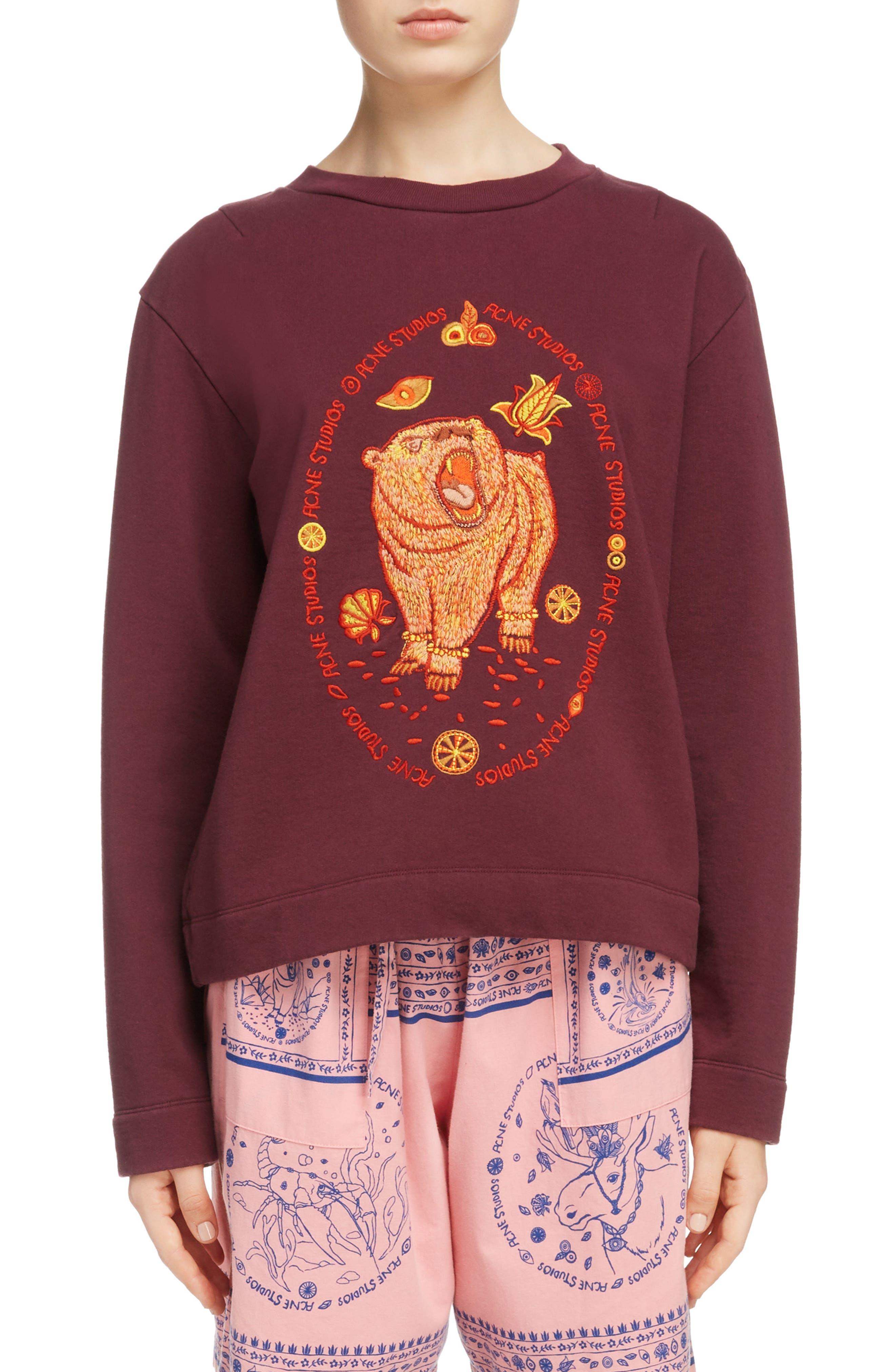 Oslavi Embroidered Bear Sweatshirt,                             Main thumbnail 1, color,