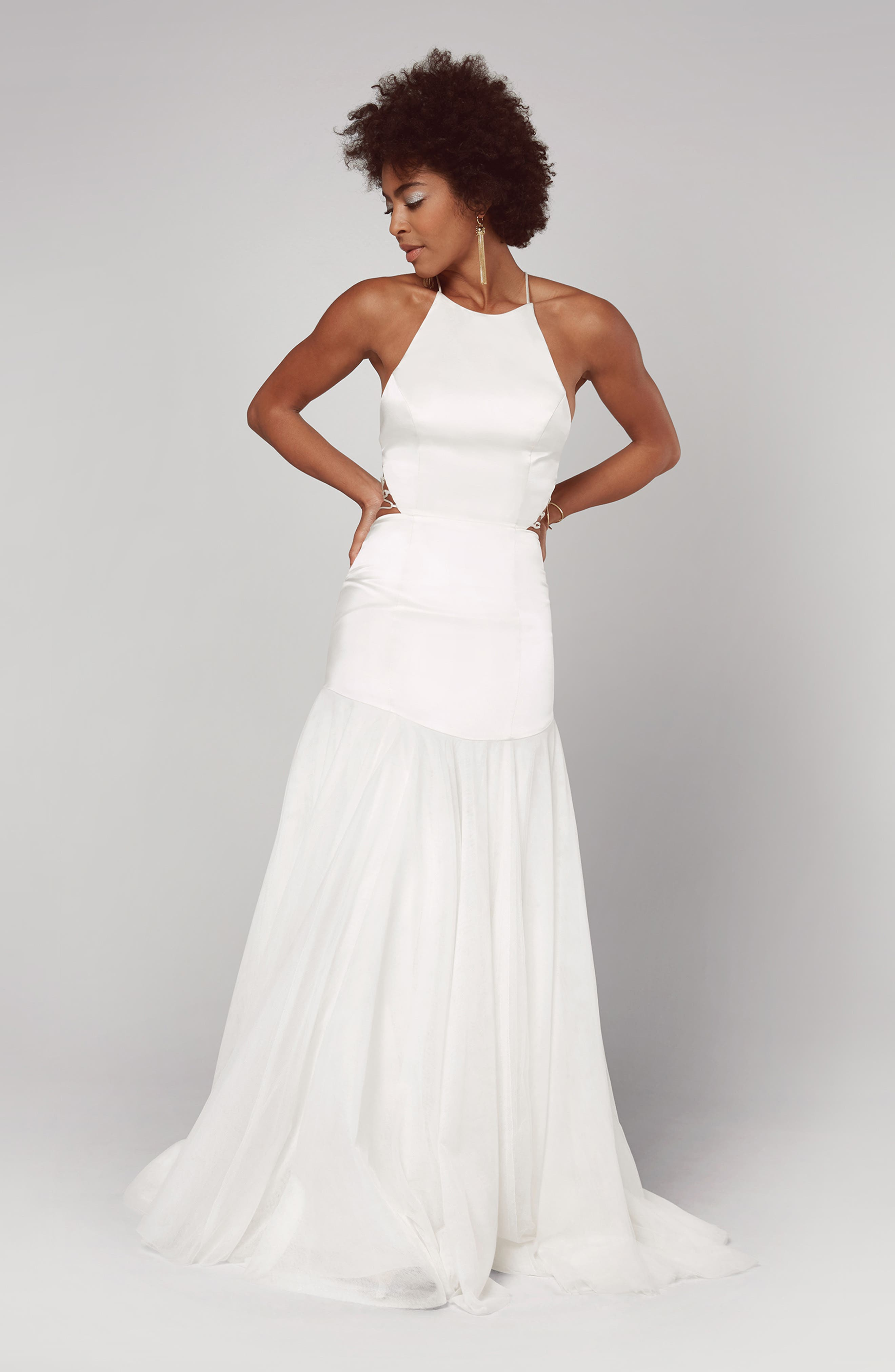 Fame & Partners Alexandrina Strappy Satin & Tulle Mermaid Gown, 8 (similar to 16W-18W) - White