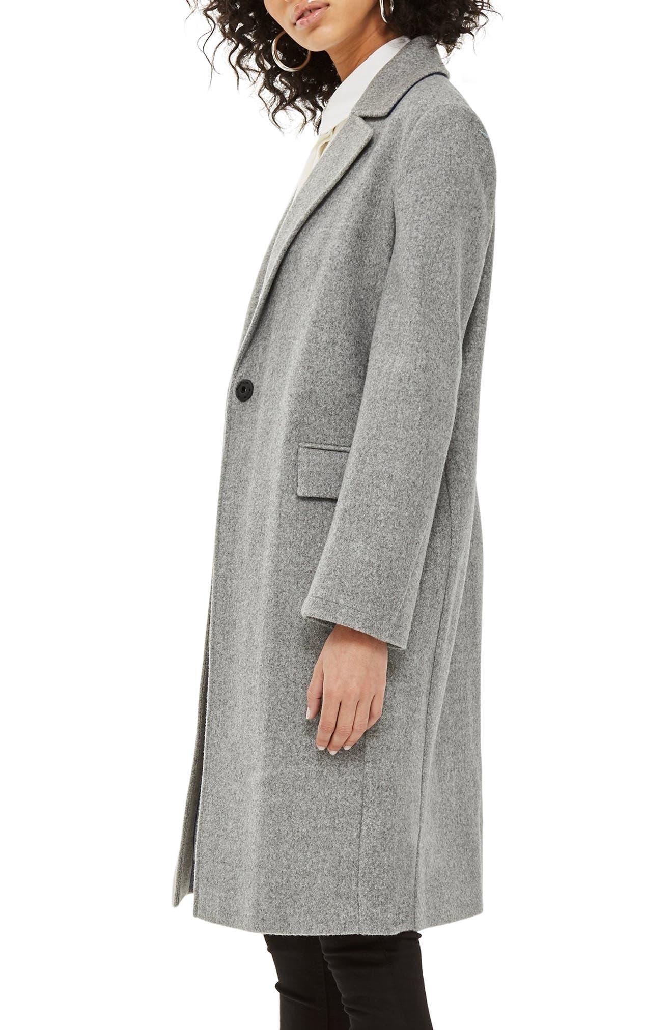 Lily Knit Back Midi Coat,                             Alternate thumbnail 3, color,                             GREY MARL