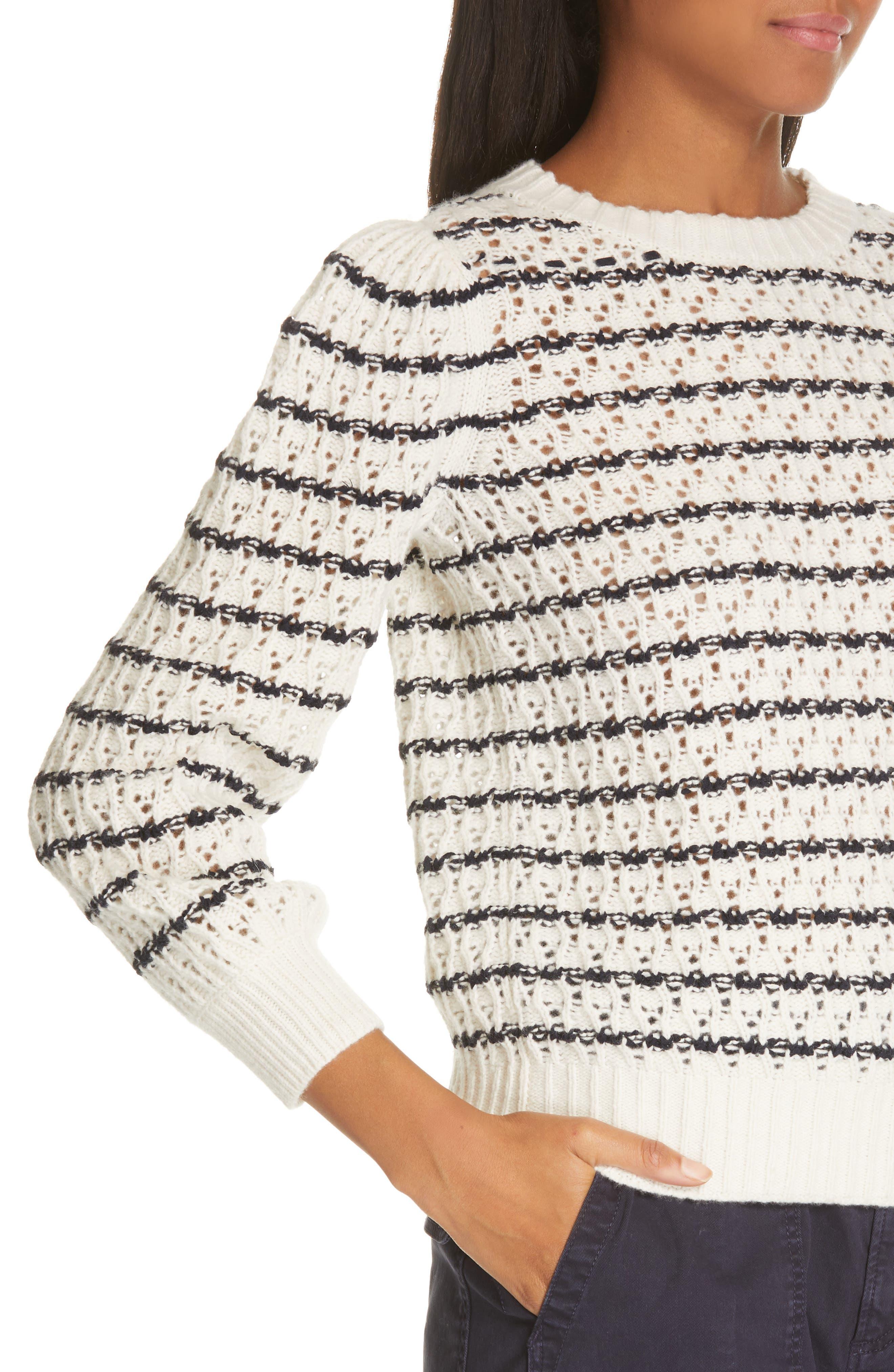 LA VIE REBECCA TAYLOR,                             Stripe Pointelle Sweater,                             Alternate thumbnail 4, color,                             ECRU/ MIDNIGHT NAVY