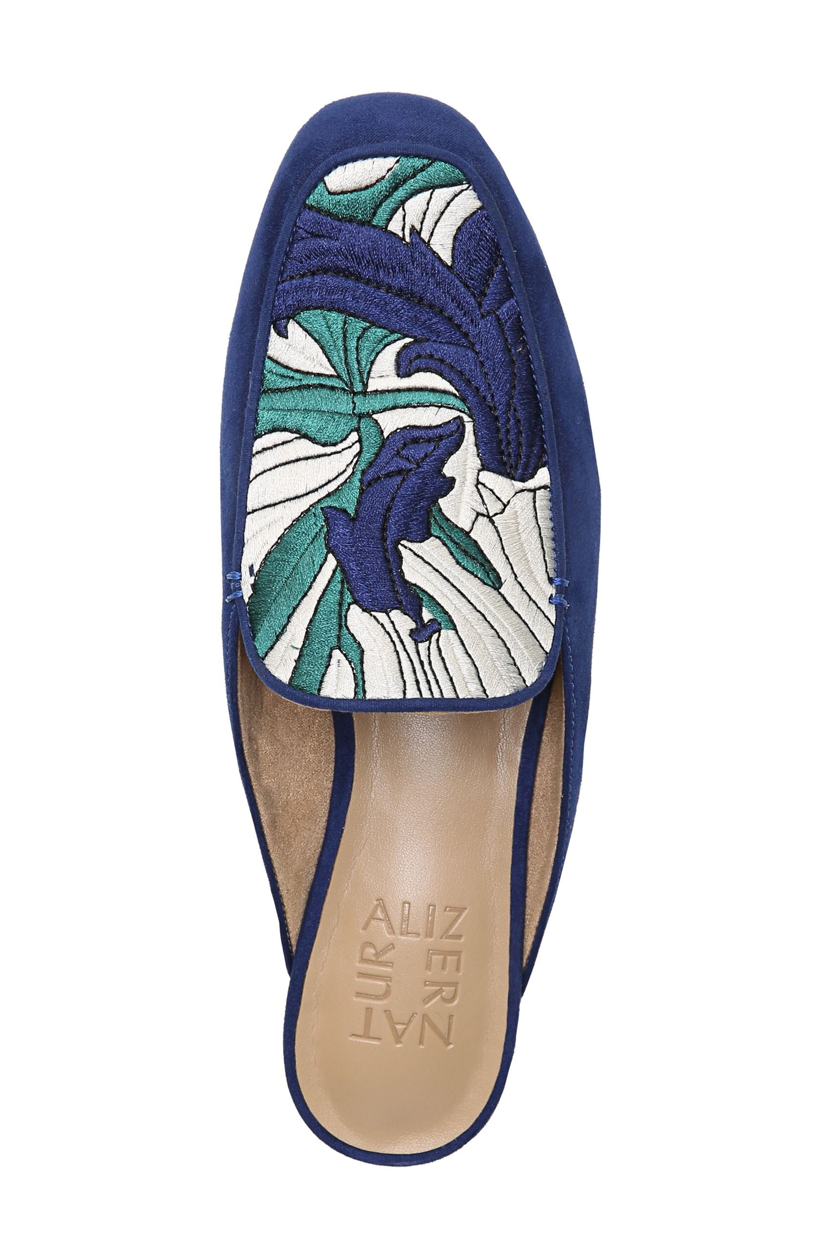 NATURALIZER,                             Eden II Embroidered Mule,                             Alternate thumbnail 5, color,                             SAPPHIRE FABRIC