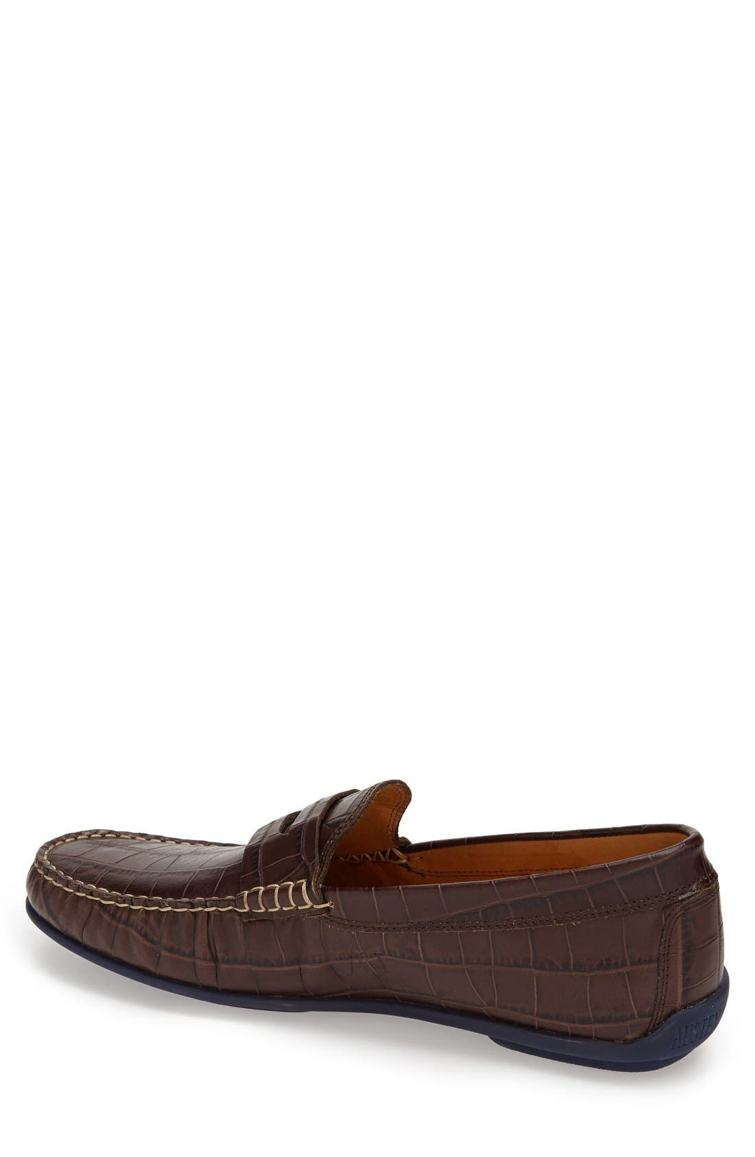 'Waverly' Leather Penny Loafer,                             Alternate thumbnail 8, color,                             BROWN
