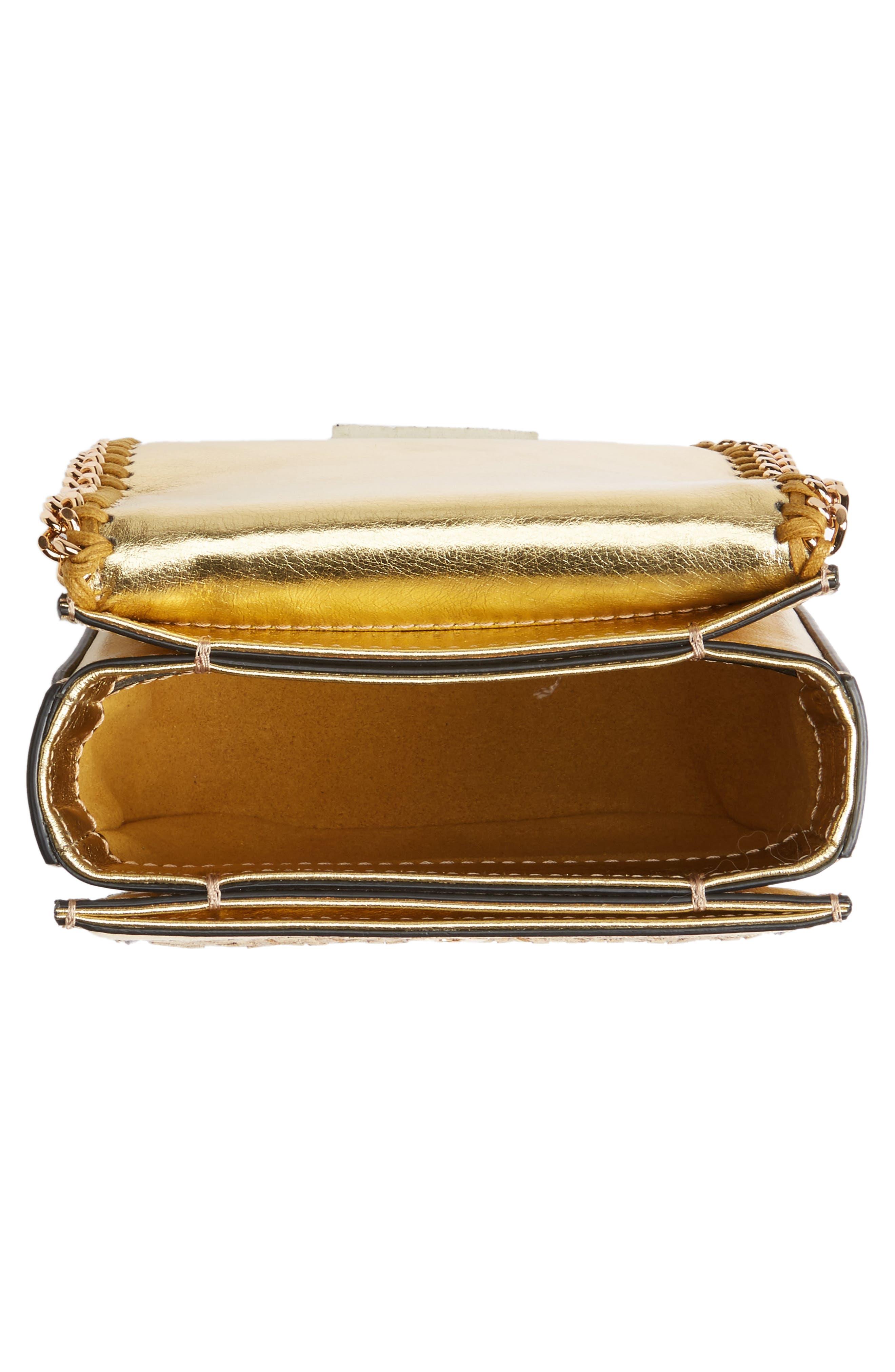 Falabella Box Woven Metallic Faux Leather Shoulder Bag,                             Alternate thumbnail 4, color,
