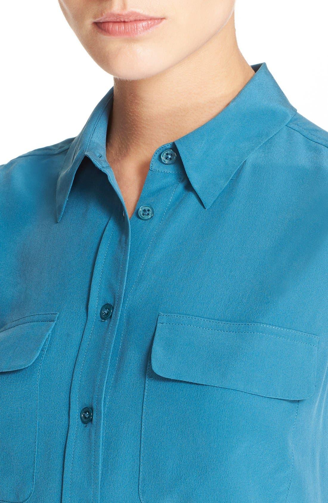 'Slim Signature' Sleeveless Silk Shirt,                             Alternate thumbnail 199, color,