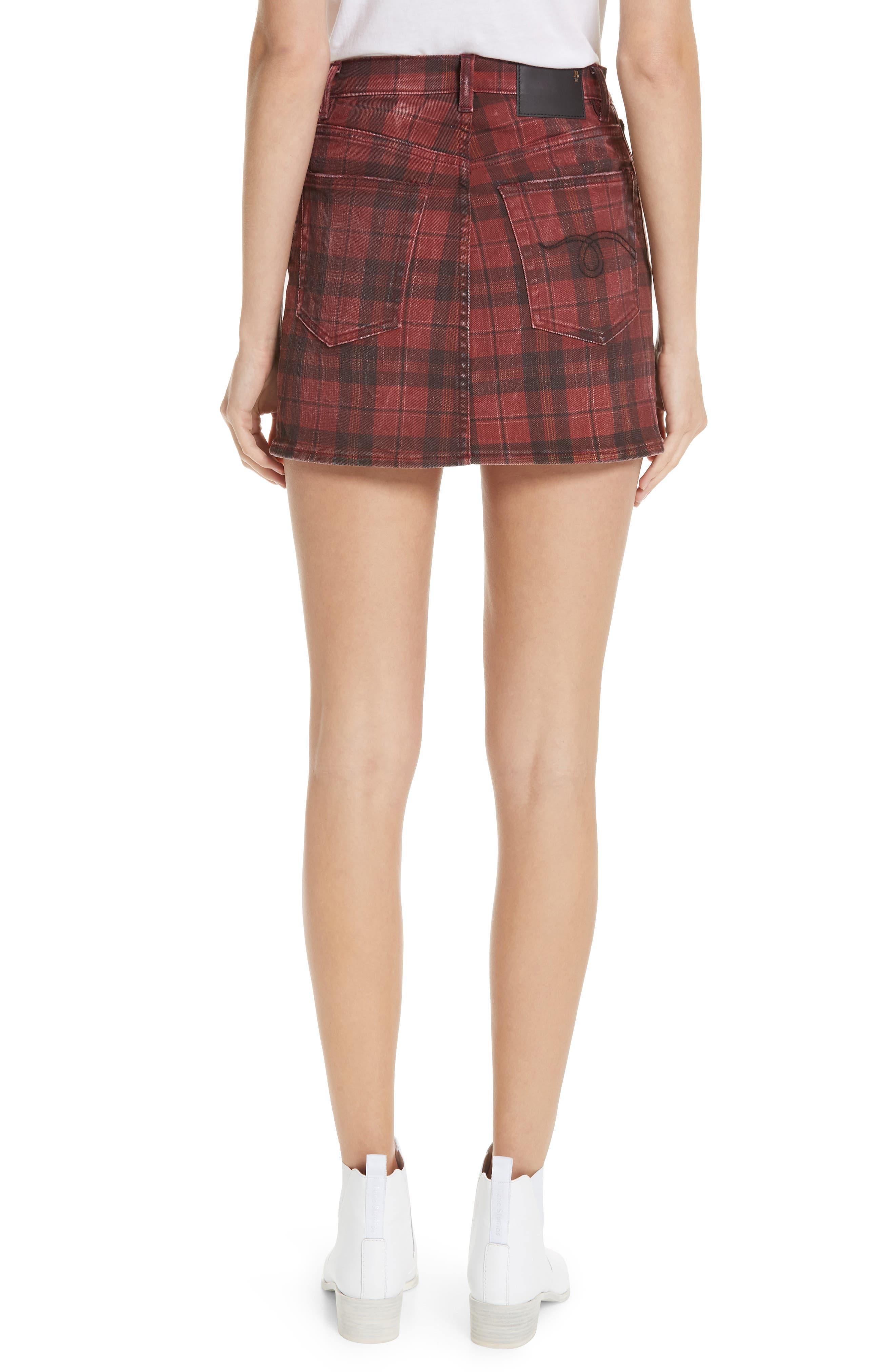 R13,                             Plaid Denim Miniskirt,                             Alternate thumbnail 2, color,                             600