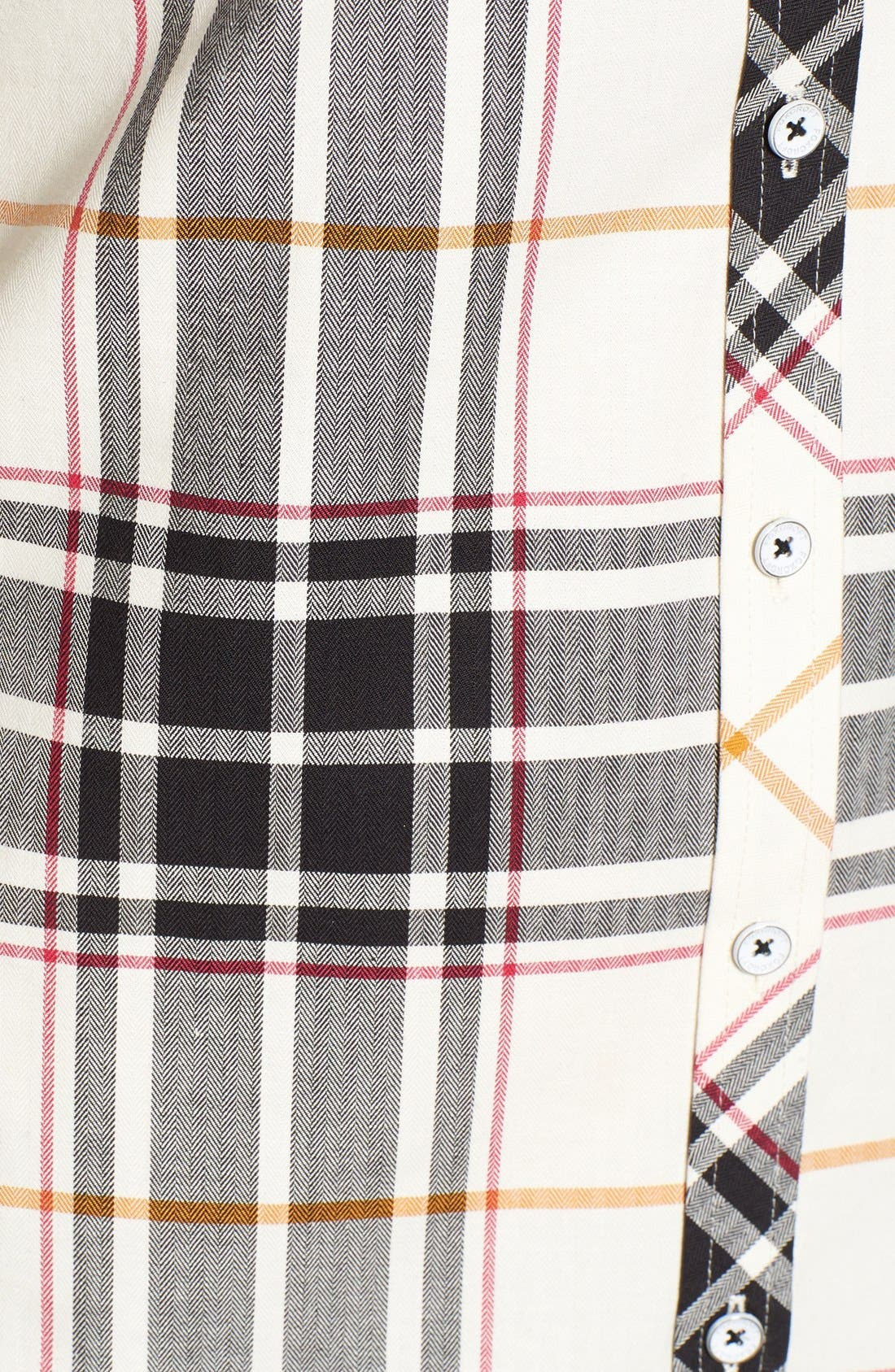 Herringbone Plaid Roll Sleeve Shirt,                             Alternate thumbnail 2, color,                             906