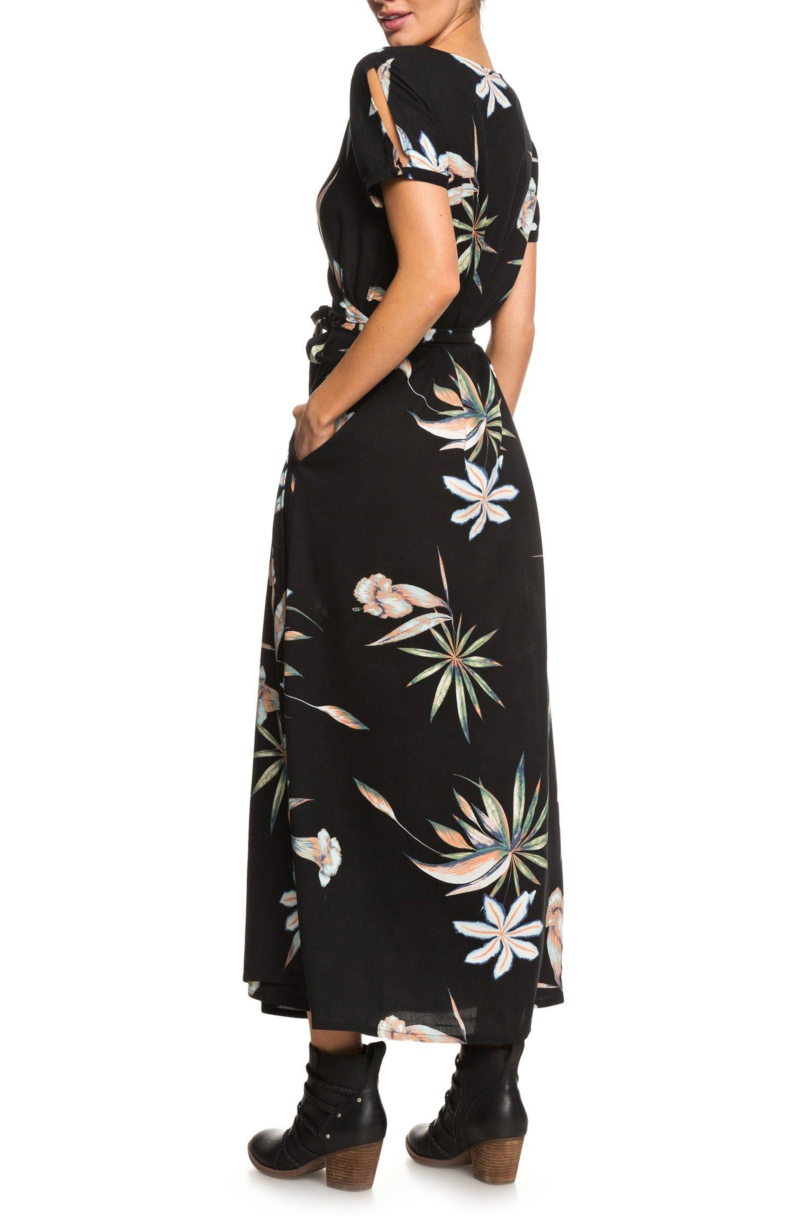 Lotus Heart Midi Dress,                             Alternate thumbnail 2, color,                             TRUE BLACK NIGHTLIGHTS