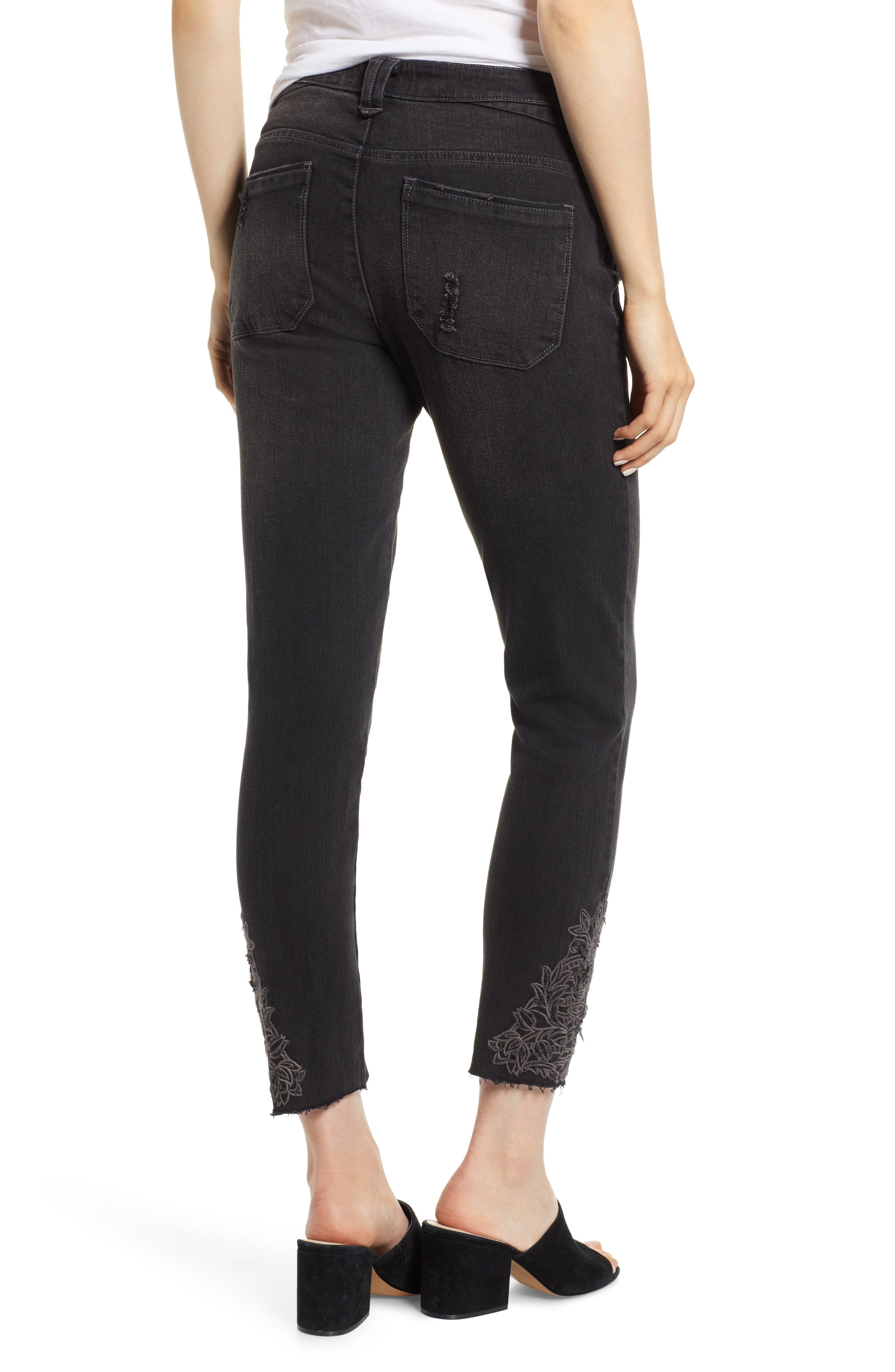 Embroidered High Rise Ankle Skimmer Jeans,                             Alternate thumbnail 2, color,                             001