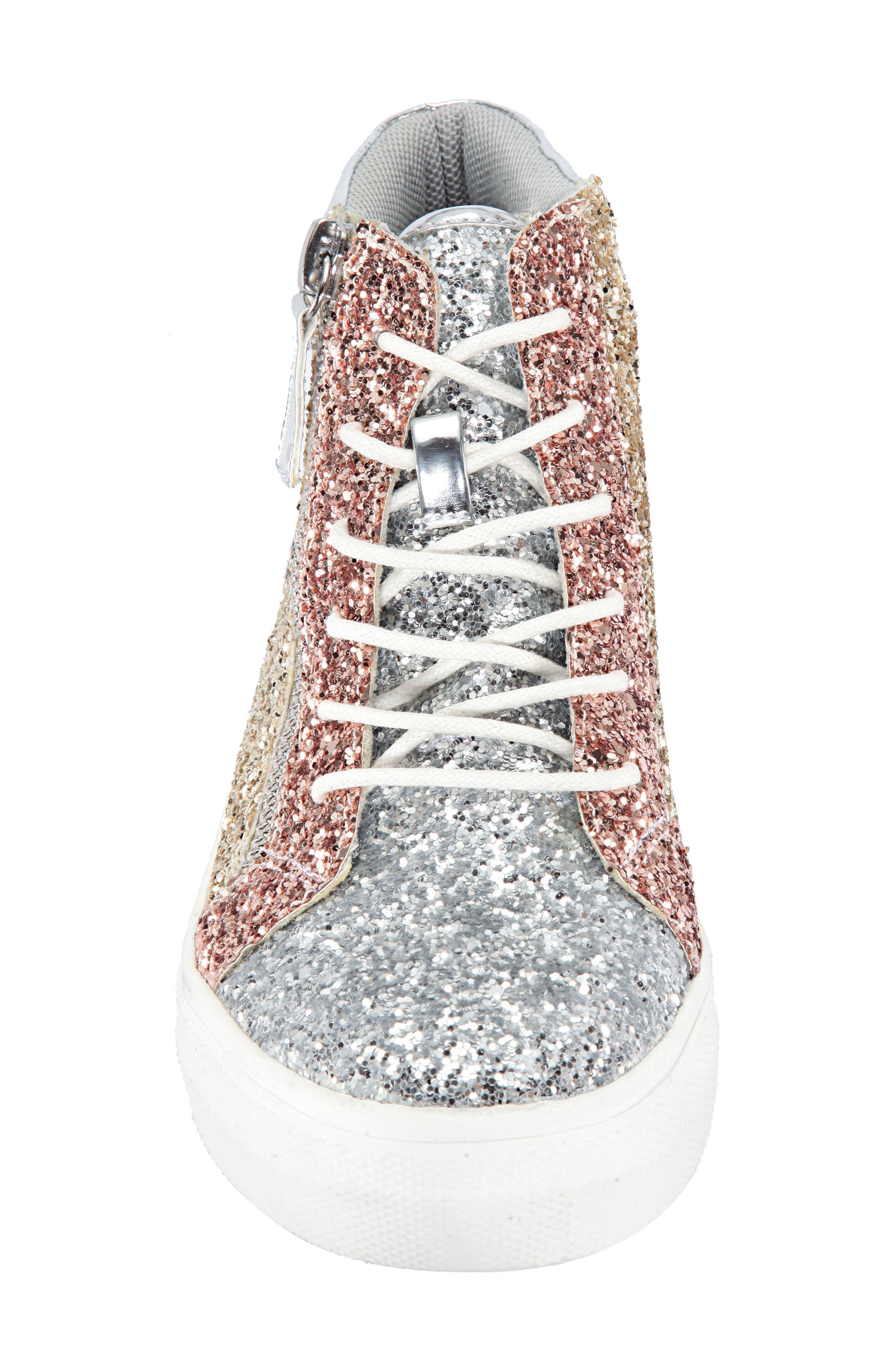 Hylda Glitter High Top Sneaker,                             Alternate thumbnail 4, color,                             SILVER MULTI GLITTER/ PATENT
