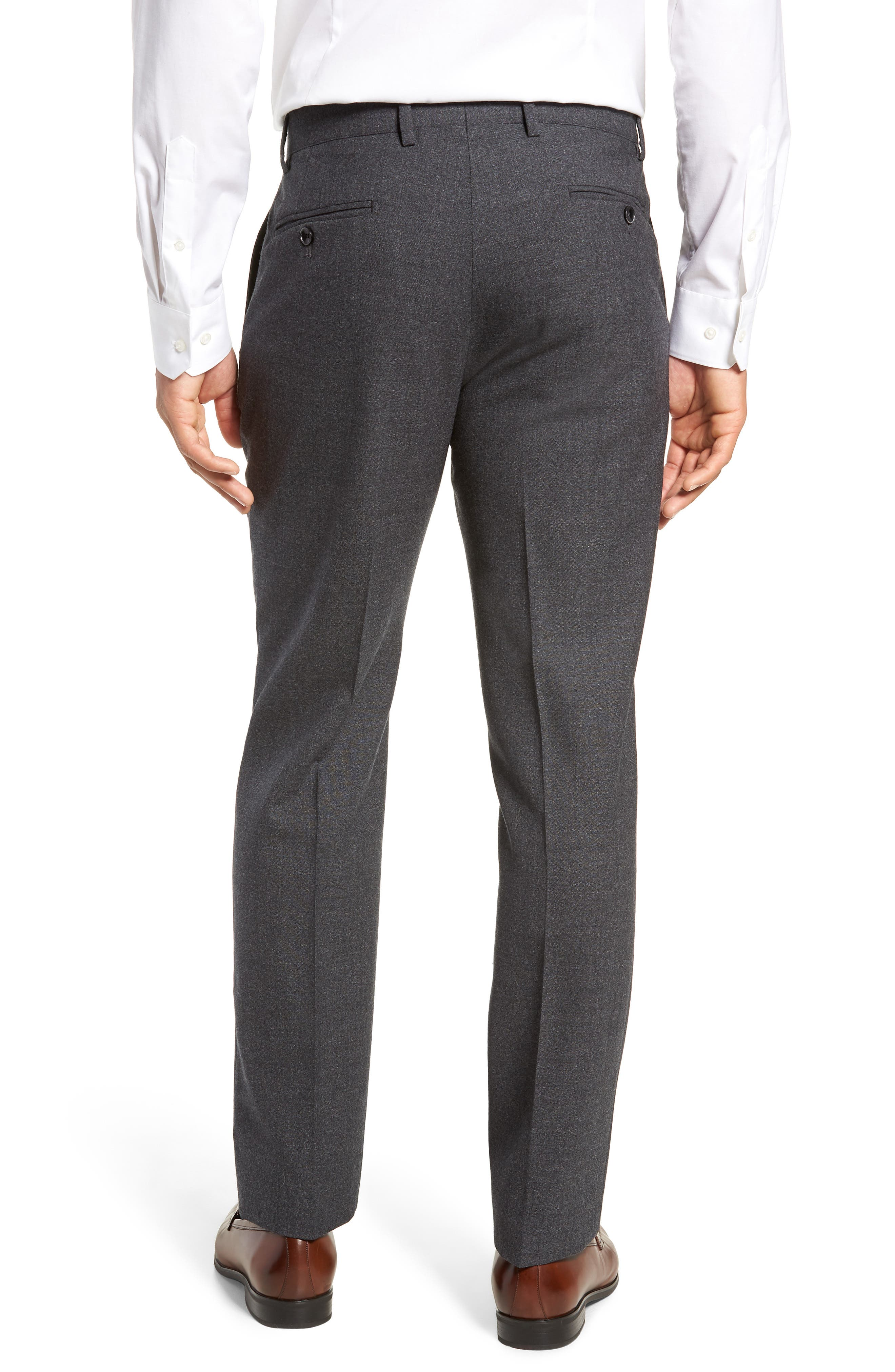 Trim Fit Flat Front Solid Wool Trousers,                             Alternate thumbnail 2, color,                             CHARCOAL