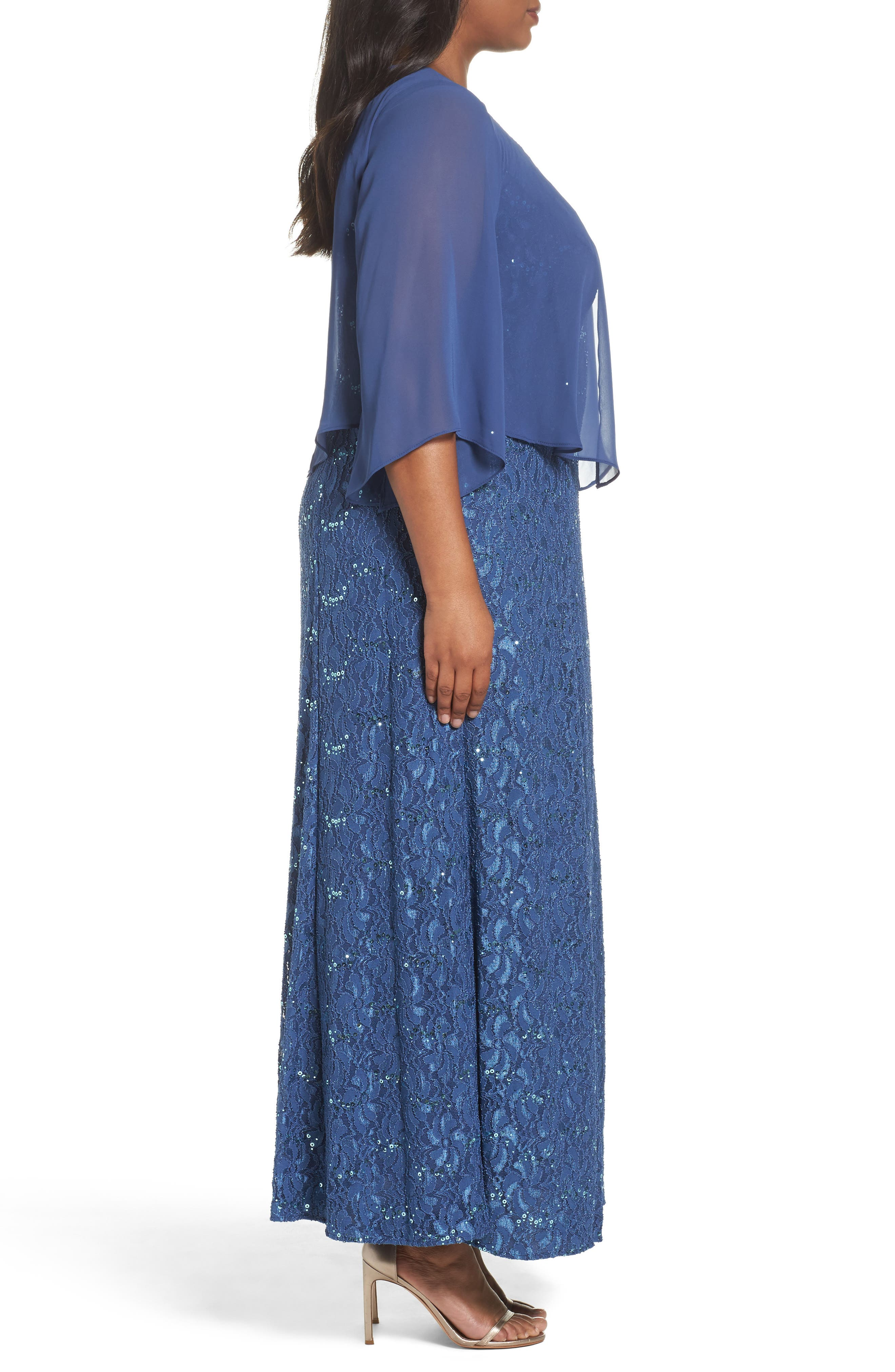 V-Neck Lace Gown with Capelet Overlay,                             Alternate thumbnail 3, color,                             422