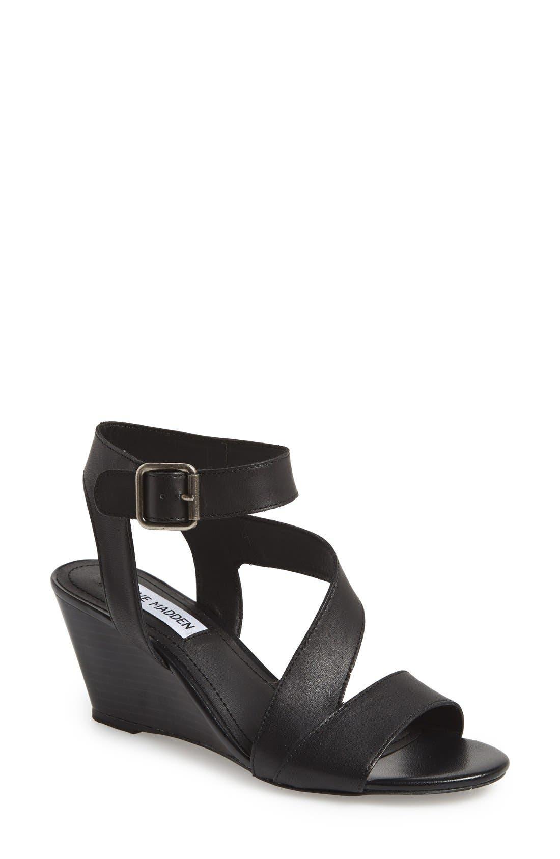 STEVE MADDEN 'Stipend' Wedge Leather Sandal, Main, color, 001