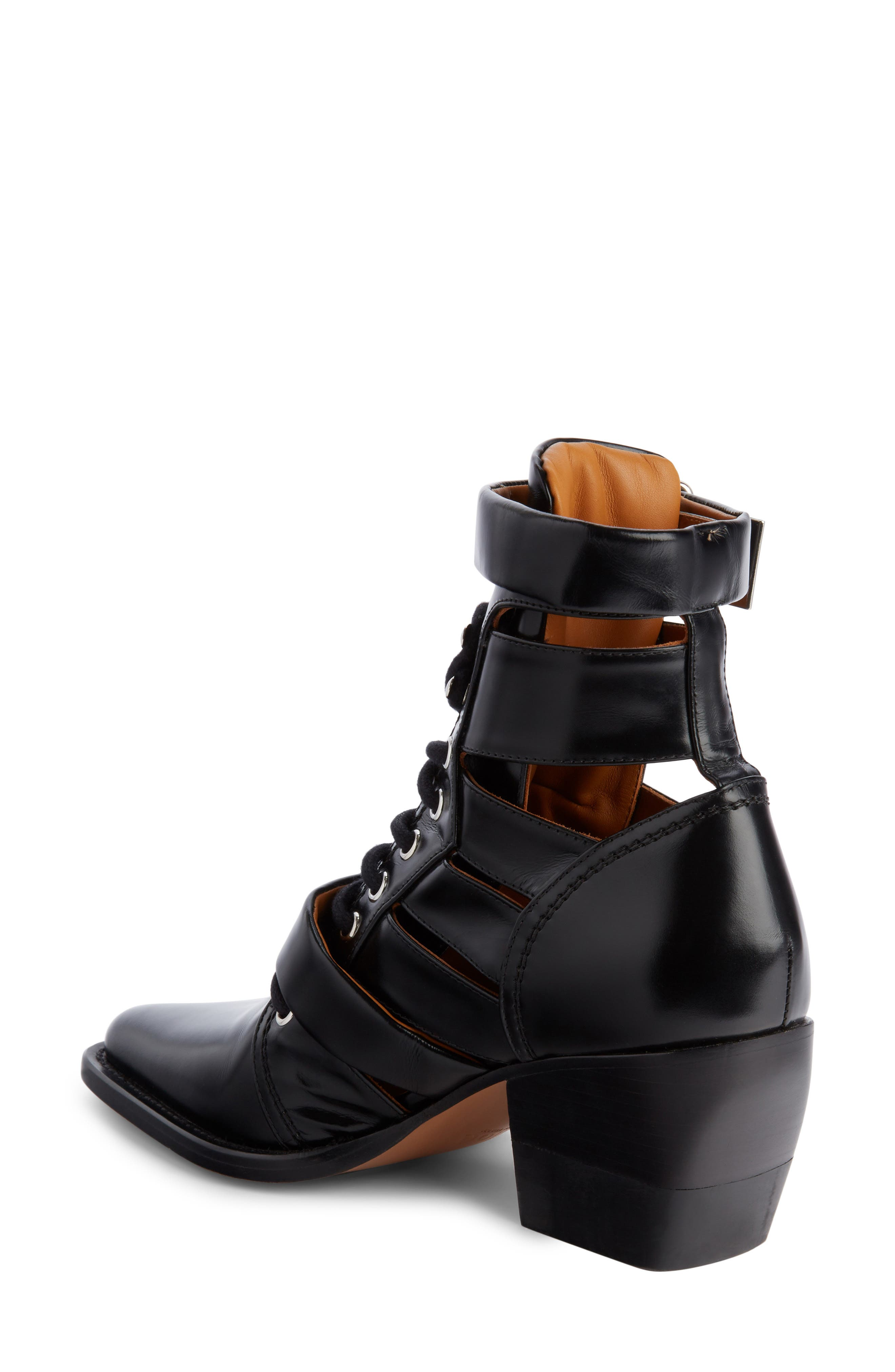 Rylee Caged Pointy Toe Boot,                             Alternate thumbnail 2, color,                             BLACK
