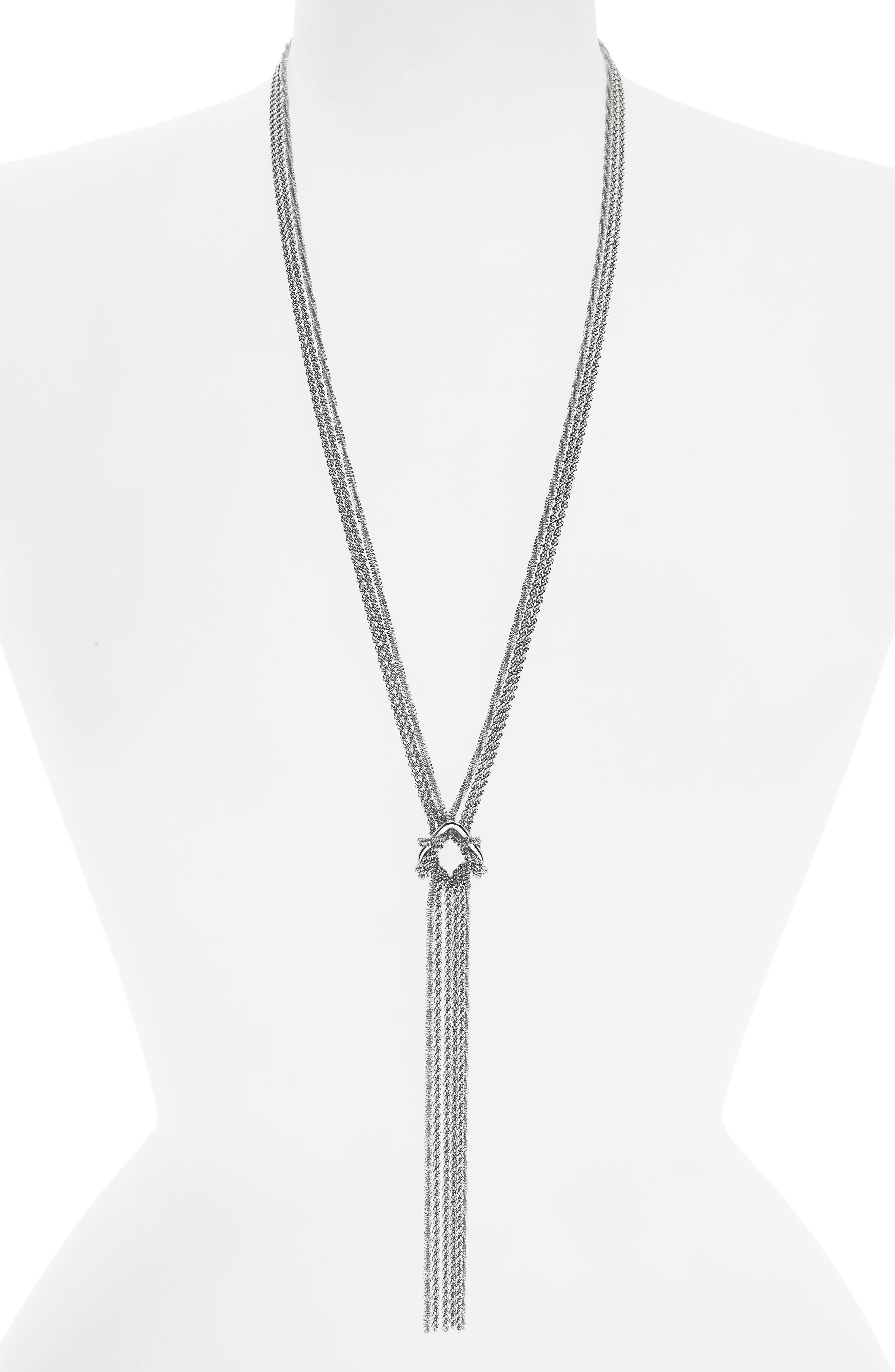 Textured Chain Lariat Necklace,                         Main,                         color,